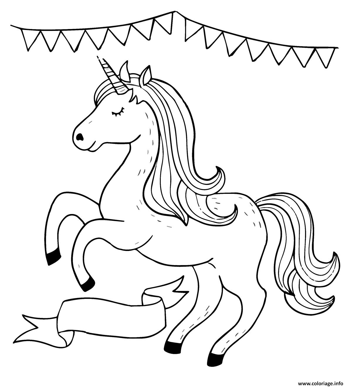 Dessin licorne magique celebration fille Coloriage Gratuit à Imprimer
