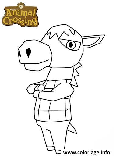 Dessin donkey animal crossing Coloriage Gratuit à Imprimer