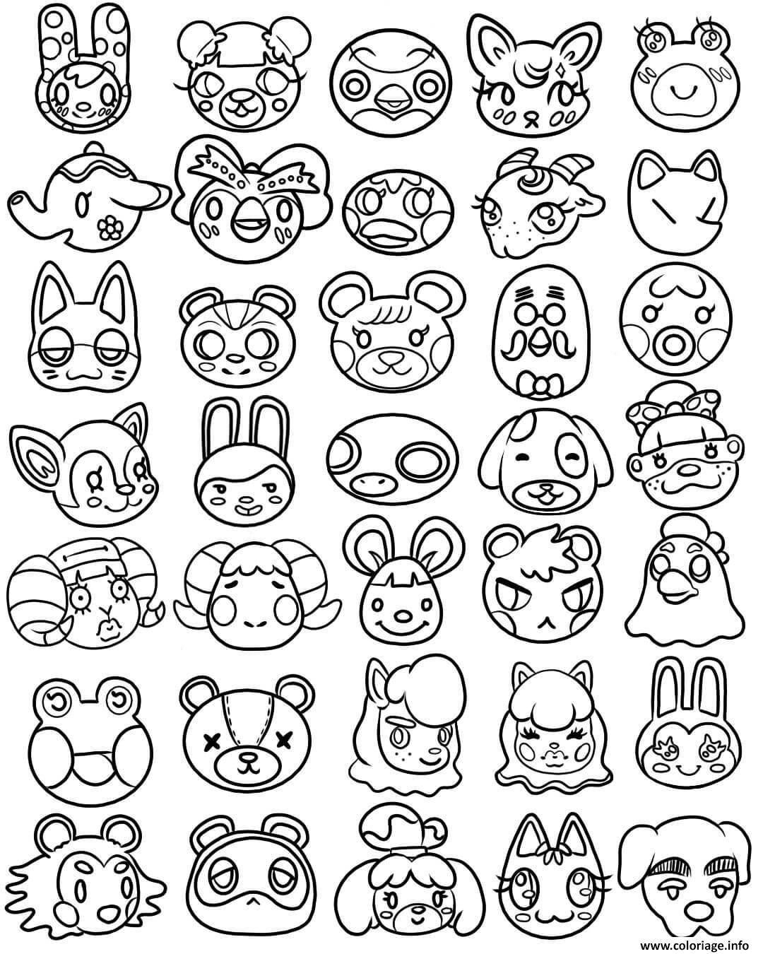 Dessin animal crossing kawaii cute head Coloriage Gratuit à Imprimer