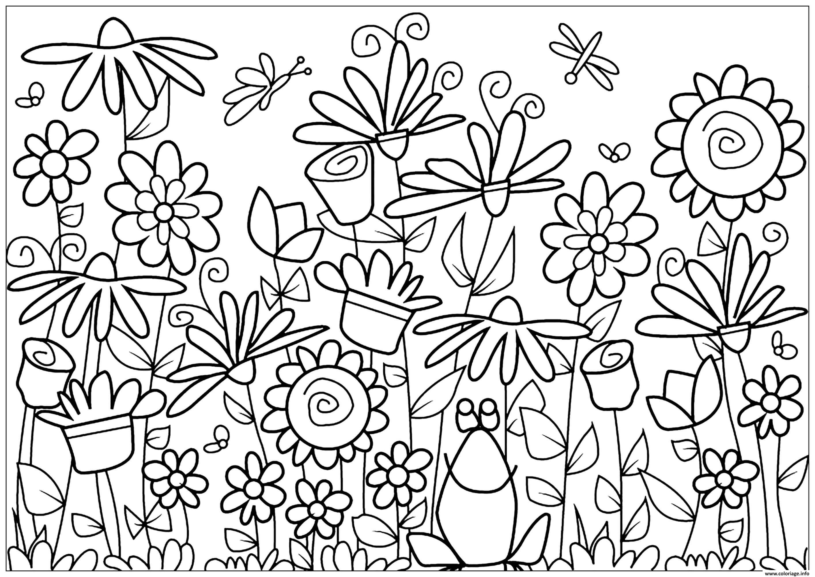 Coloriage Fleurs Et Grenouille Jecolorie Com