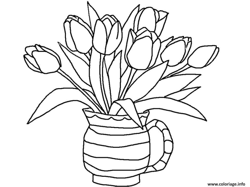 Dessin tulipes plantes herbacees Coloriage Gratuit à Imprimer