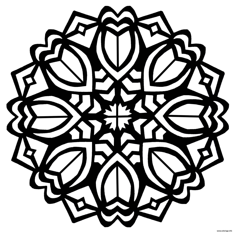 Dessin Mandala Tulipes Style Art deco Coloriage Gratuit à Imprimer