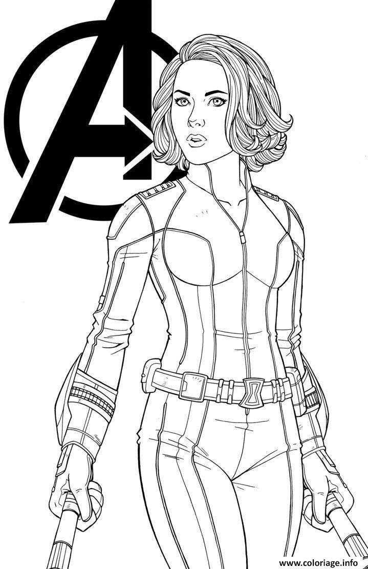 Dessin Black Widow Marvel Girl Coloriage Gratuit à Imprimer