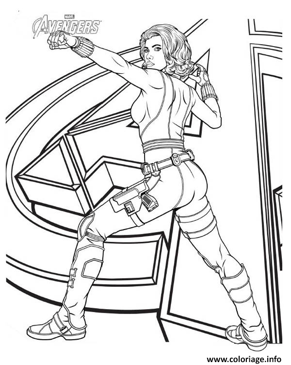 Dessin black widow avengers girl power Coloriage Gratuit à Imprimer