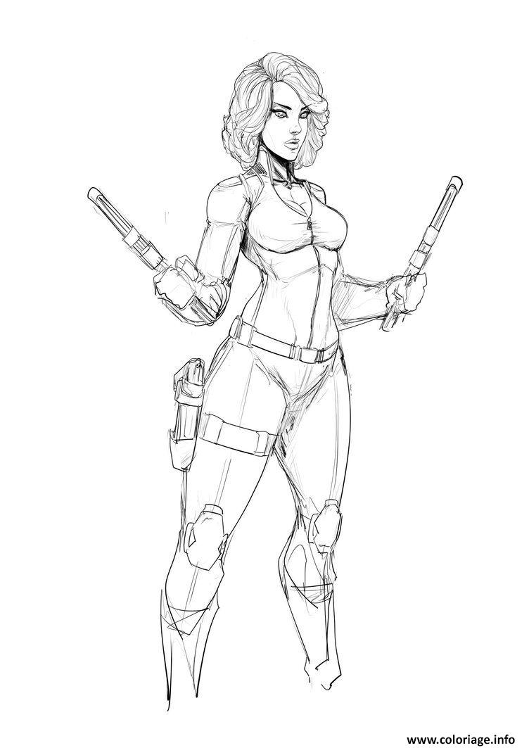 Dessin Black Widow Superheros Girl Fan art Coloriage Gratuit à Imprimer