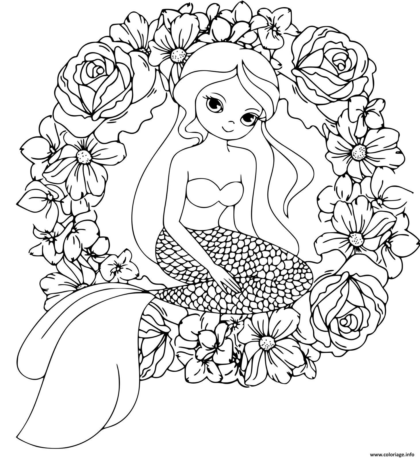 Dessin Mandala de sirenes et de fleurs de couronnes Coloriage Gratuit à Imprimer