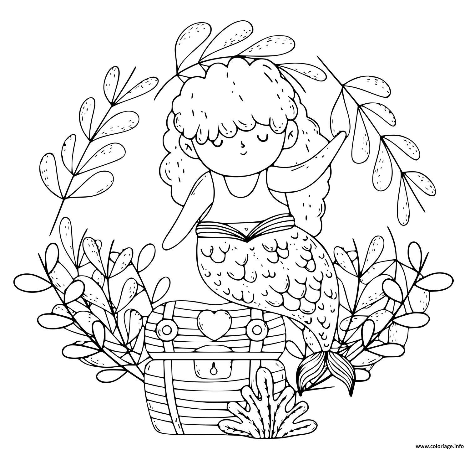 Dessin Petite sirene avec un coffre au tresor Coloriage Gratuit à Imprimer