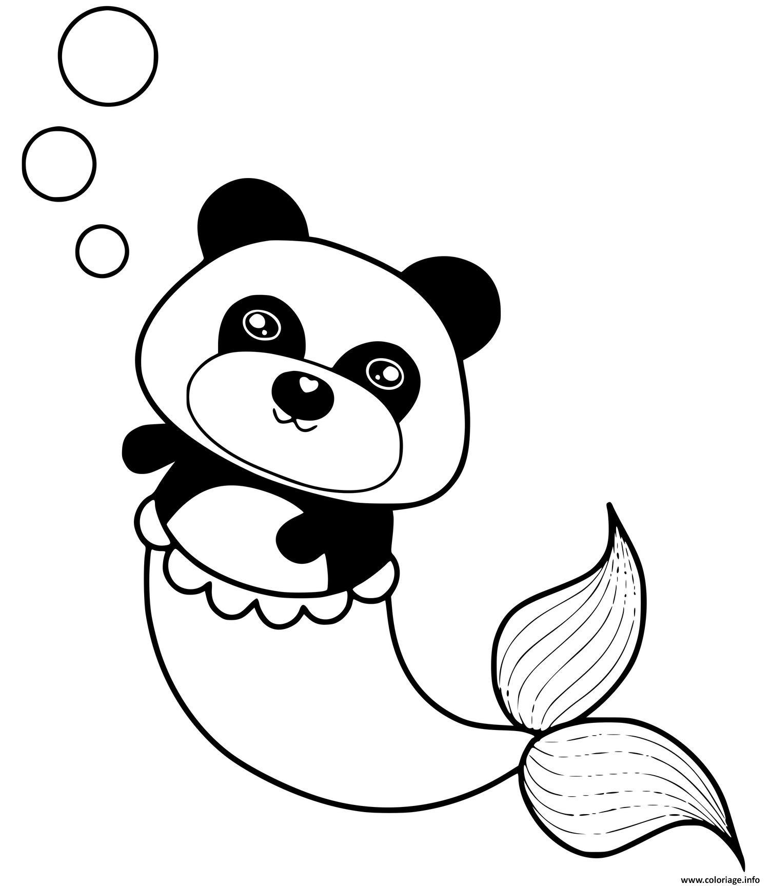 Dessin panda sirene mermaid Coloriage Gratuit à Imprimer