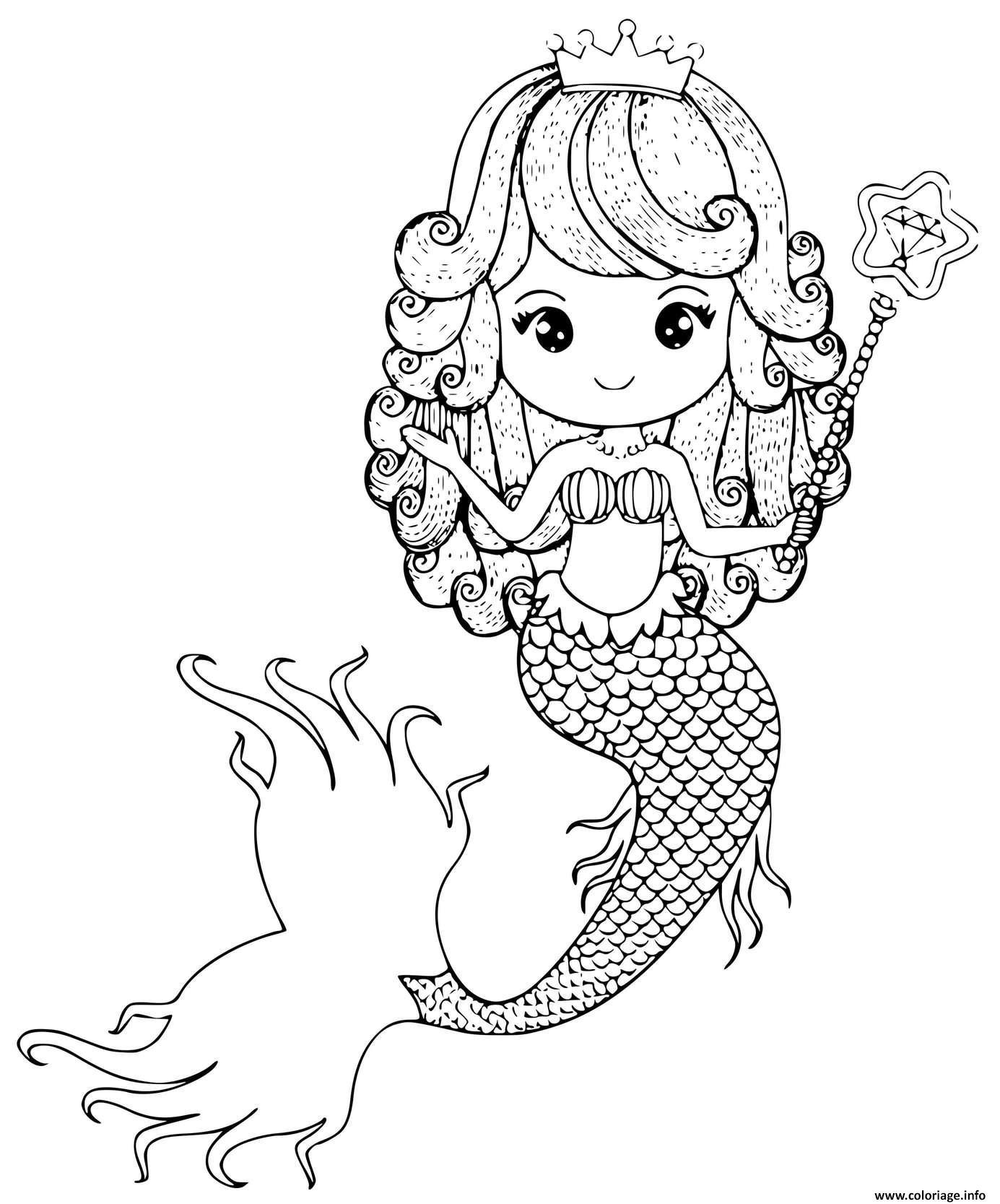 Dessin Princesse sirene avec une baguette et une couronne Coloriage Gratuit à Imprimer