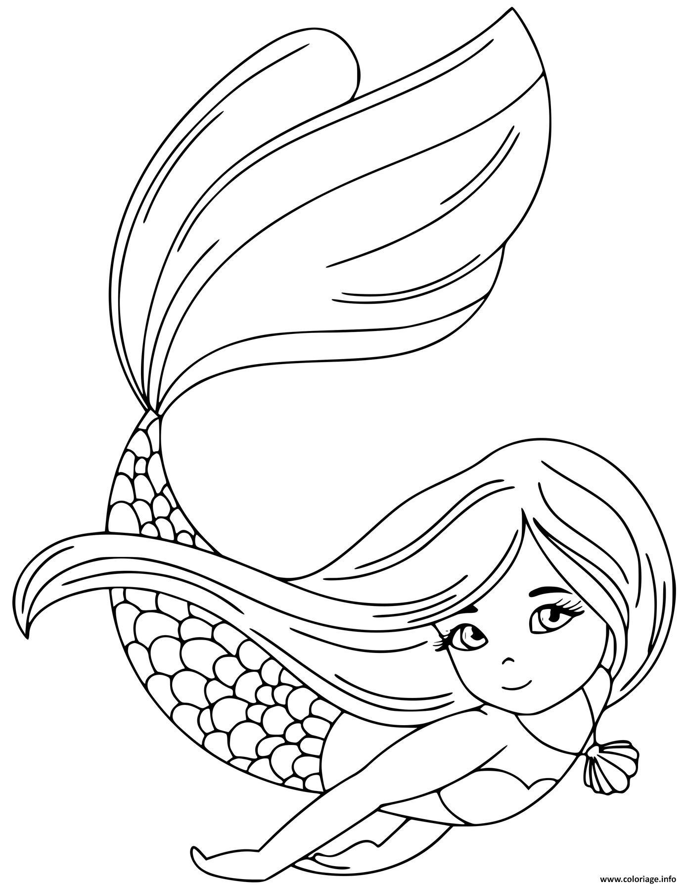 Coloriage La Princesse Sirene Nageant Sous L Eau Dessin Sirene A Imprimer