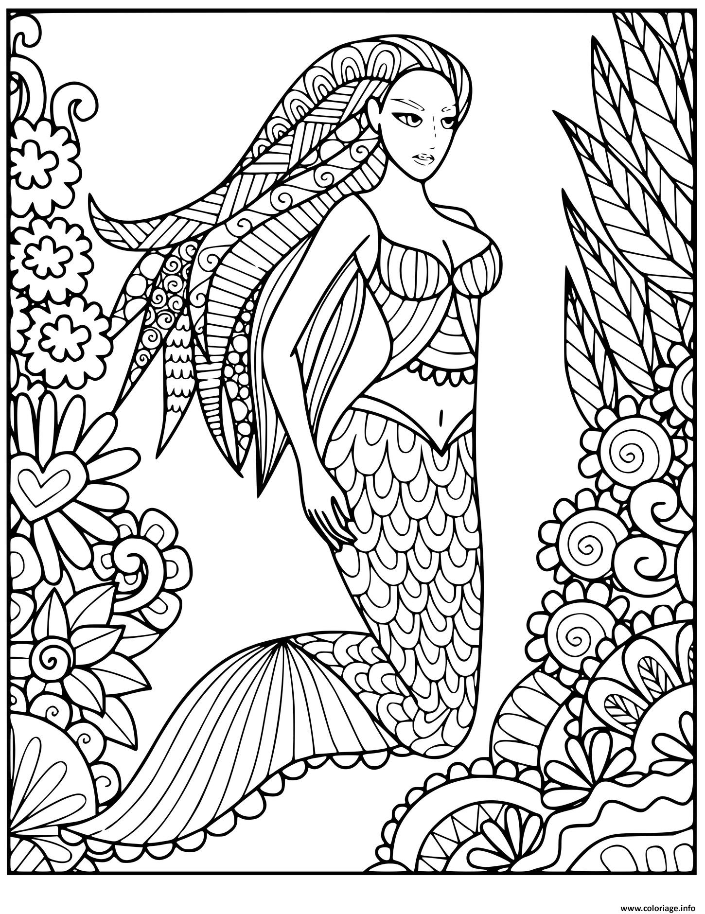 Coloriage Sirene Dans La Mer Avec La Vegetation Dessin ...