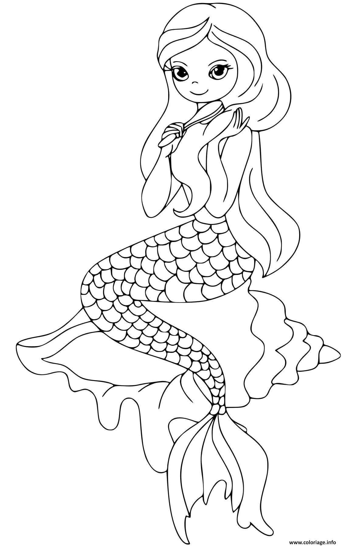 Dessin Une jolie sirene qui se brosse les cheveux Coloriage Gratuit à Imprimer