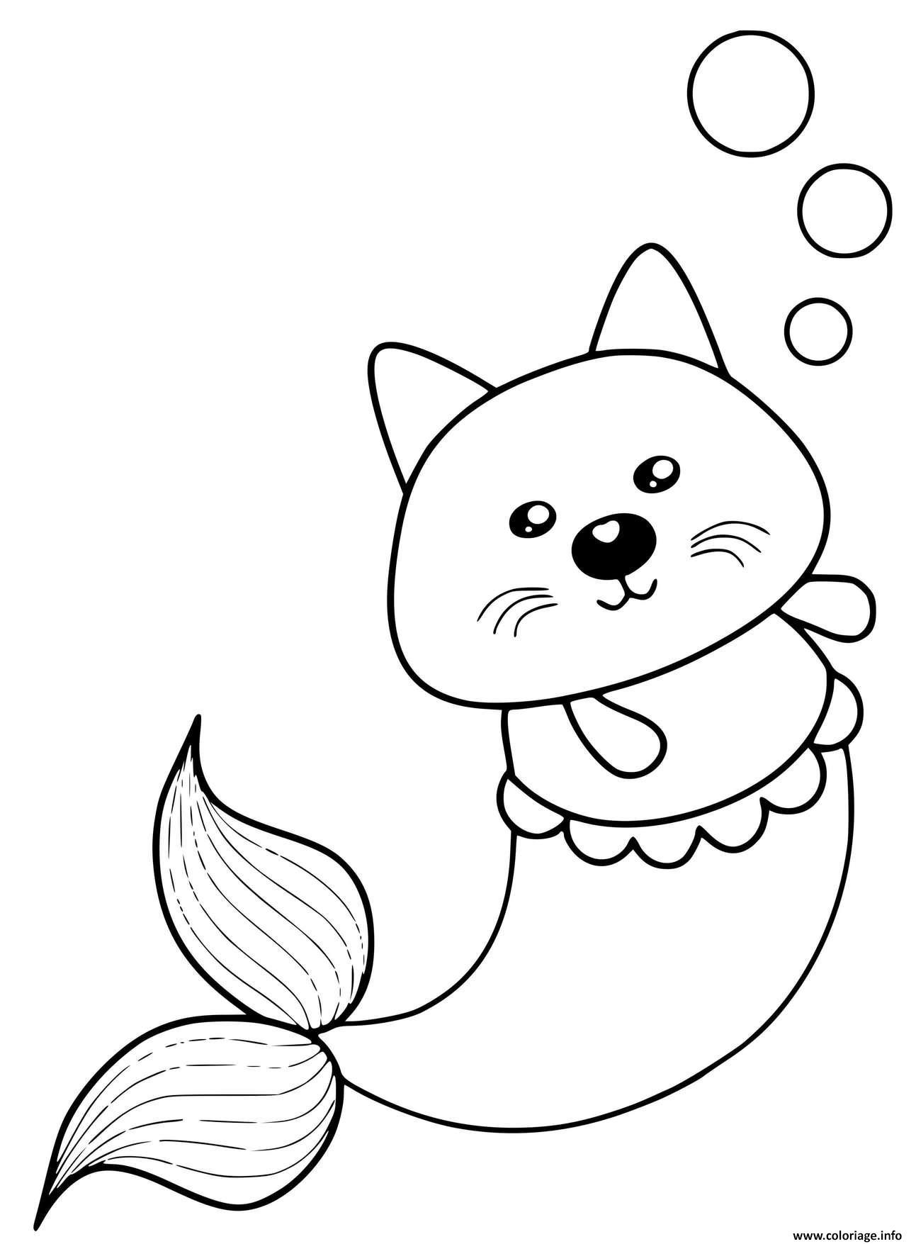Dessin kitty sirene chat mignon Coloriage Gratuit à Imprimer