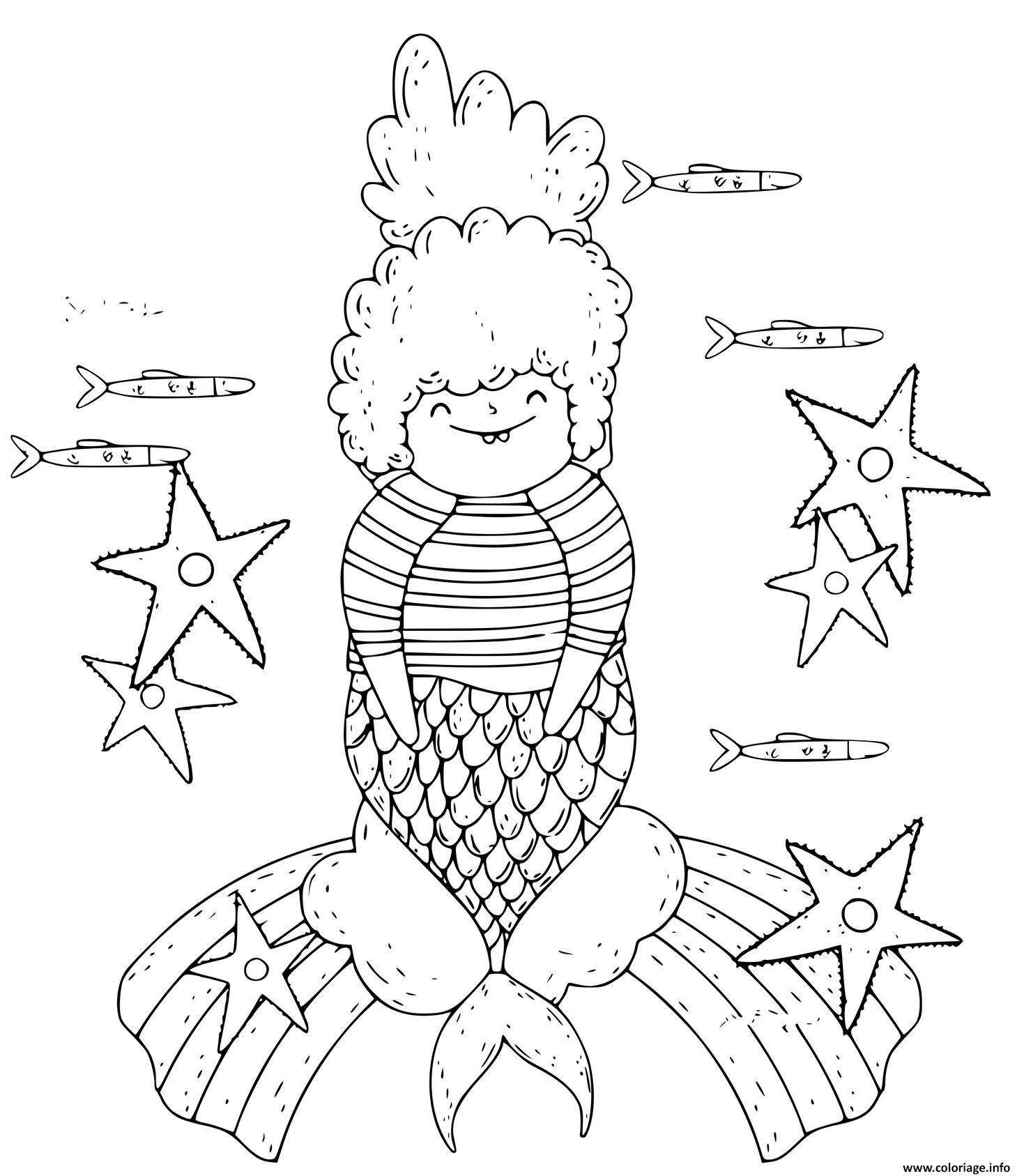 Dessin une jolie sirene avec une etoile de mer Coloriage Gratuit à Imprimer