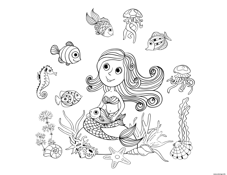 Dessin le monde aquatique avec une sirene Coloriage Gratuit à Imprimer
