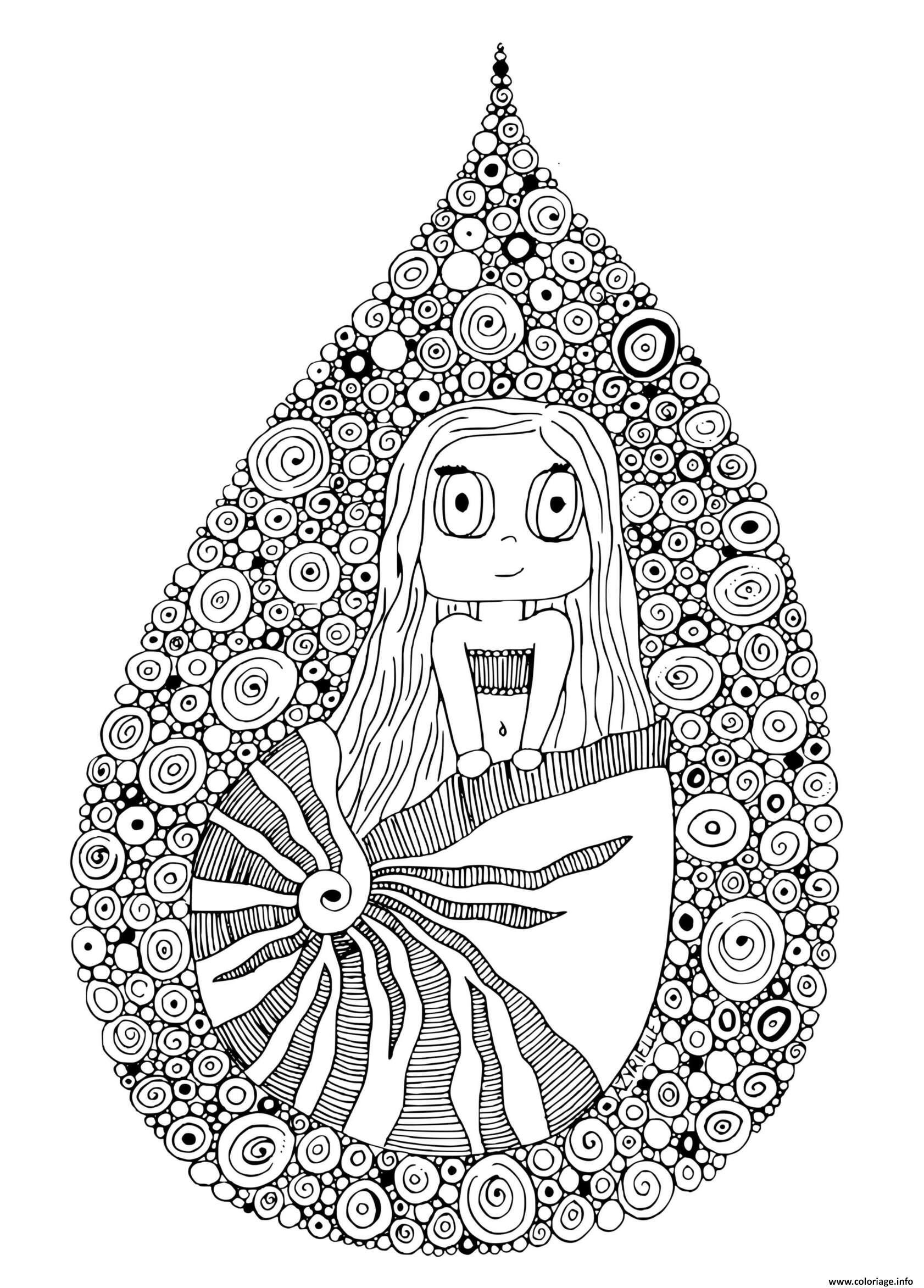 Dessin sirene dans un coquillage par azyrielle Coloriage Gratuit à Imprimer