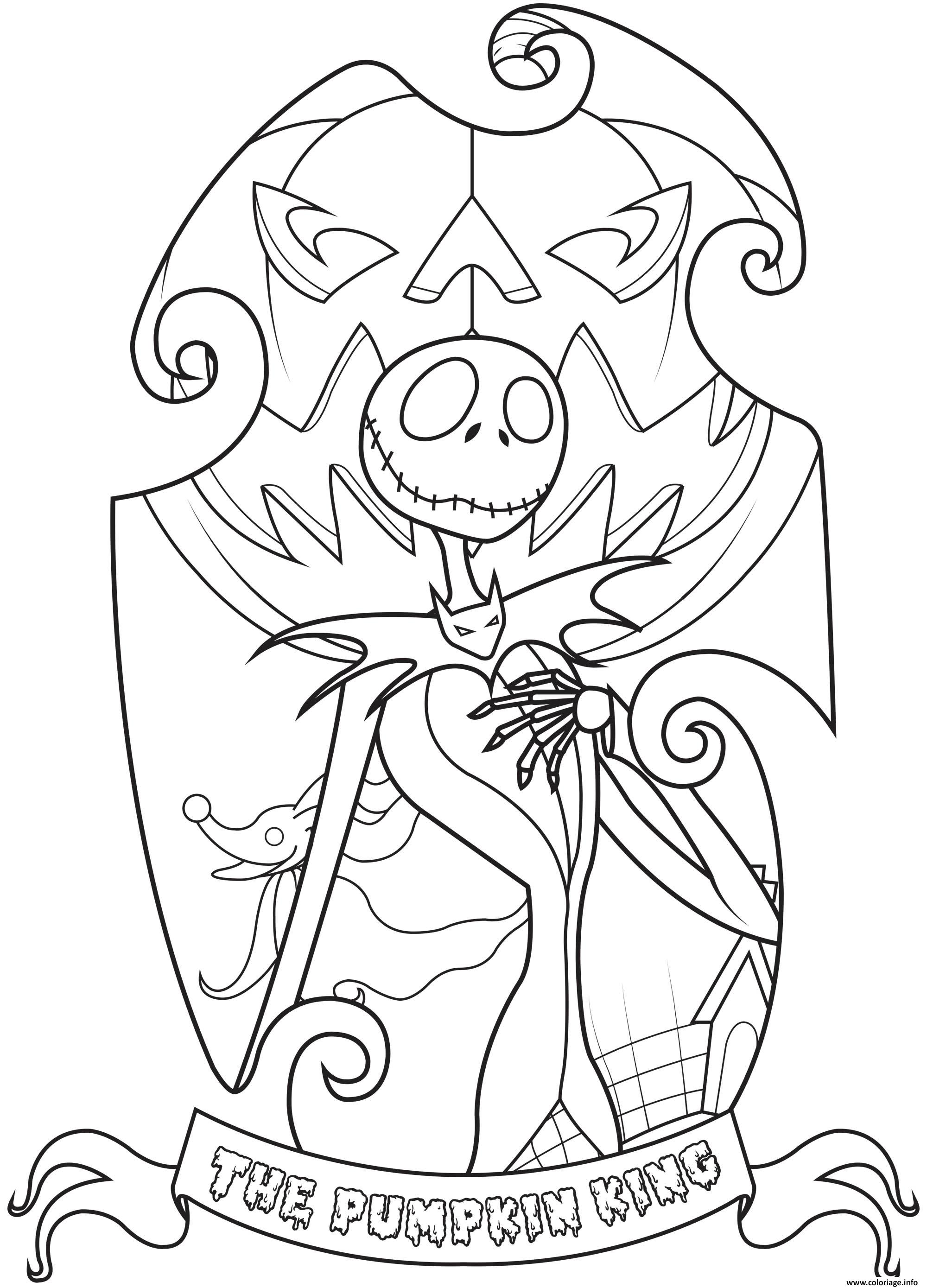 Coloriage Jack Skellington King Of Halloween Town Simple Dessin à Imprimer