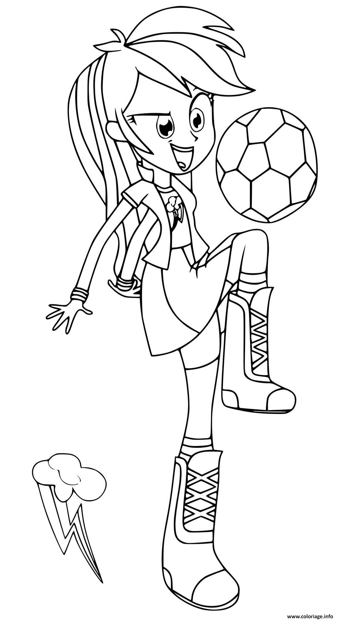 Dessin Equestria Girls Rainbow Dash Playing Football Coloriage Gratuit à Imprimer