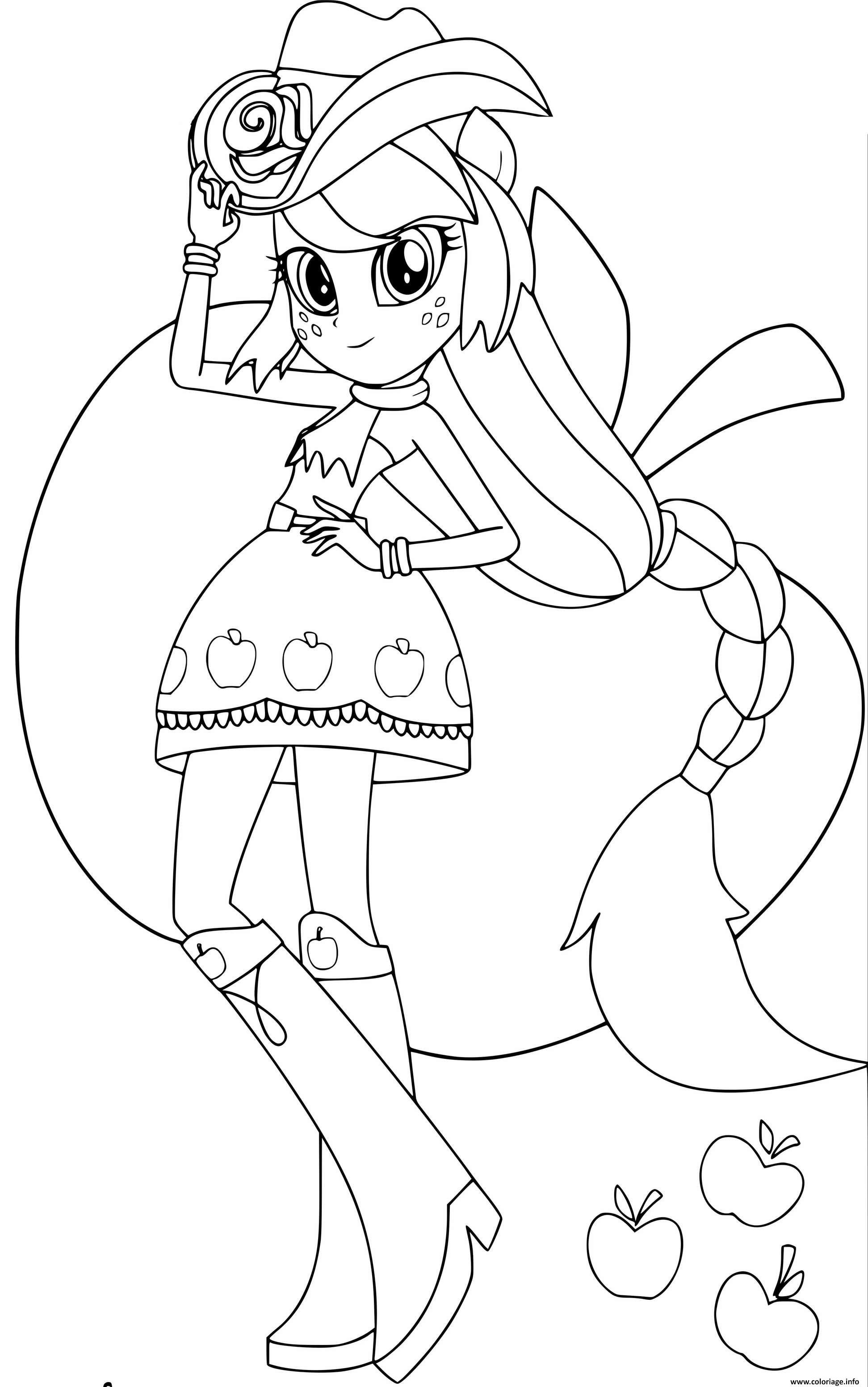 Coloriage My Little Pony Equestria Girls Applejack Printables - JeColorie.com