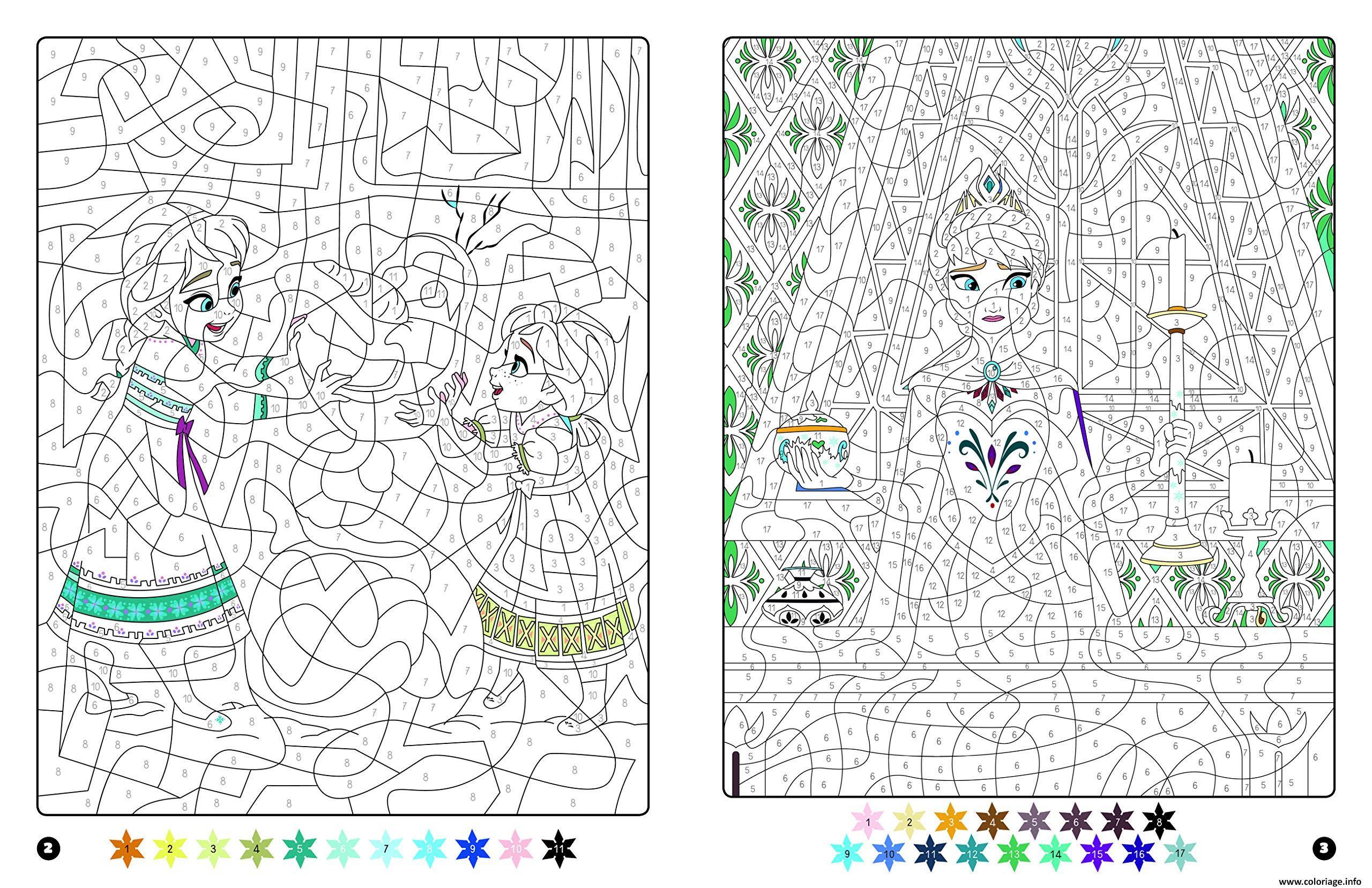 Coloriage Magique Disney Frozen Reine Des Neiges Anna Et Elsa Dessin Magique A Imprimer