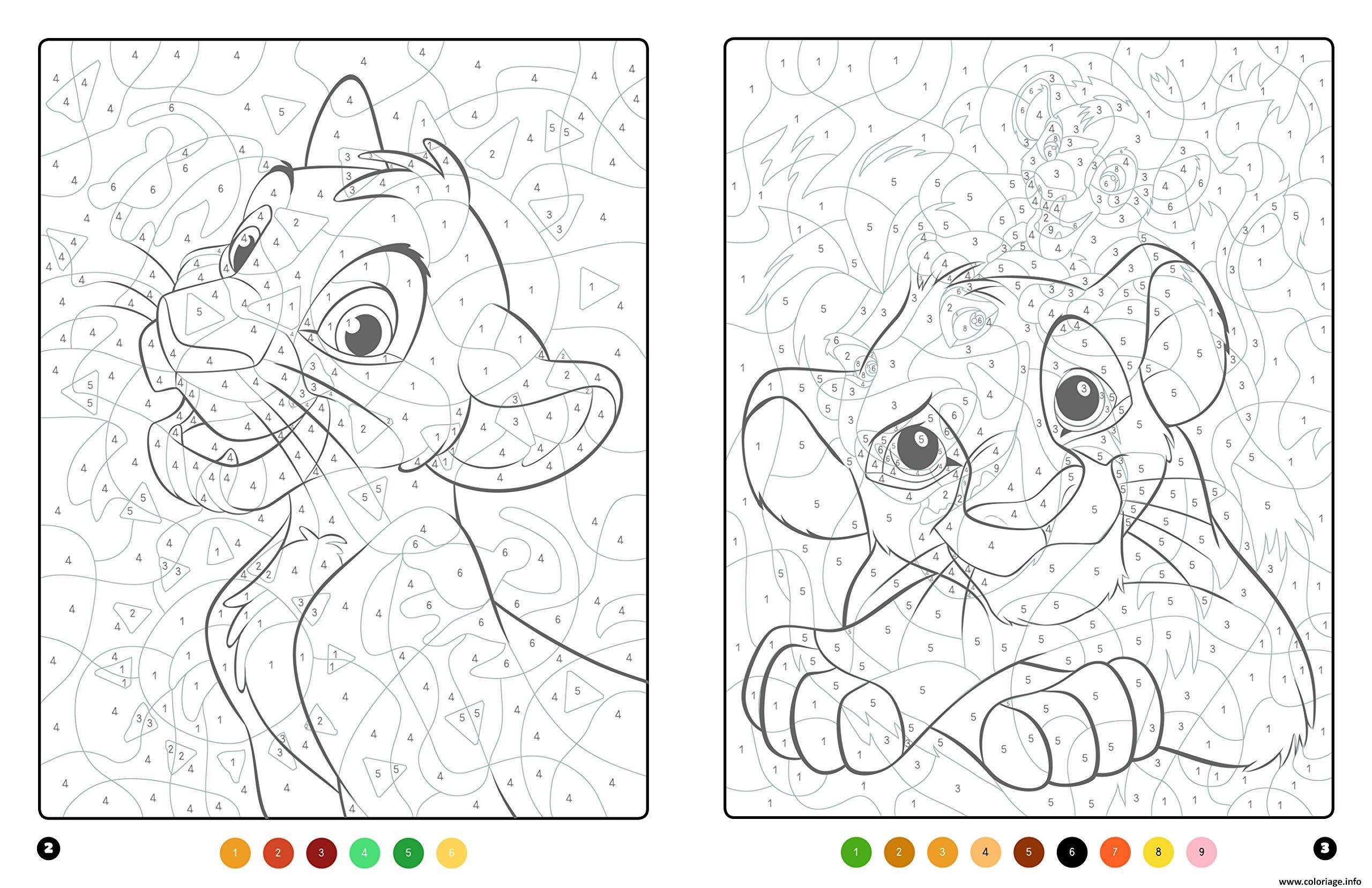 Coloriage Magique Disney Le Roi Lion Dessin Magique A Imprimer