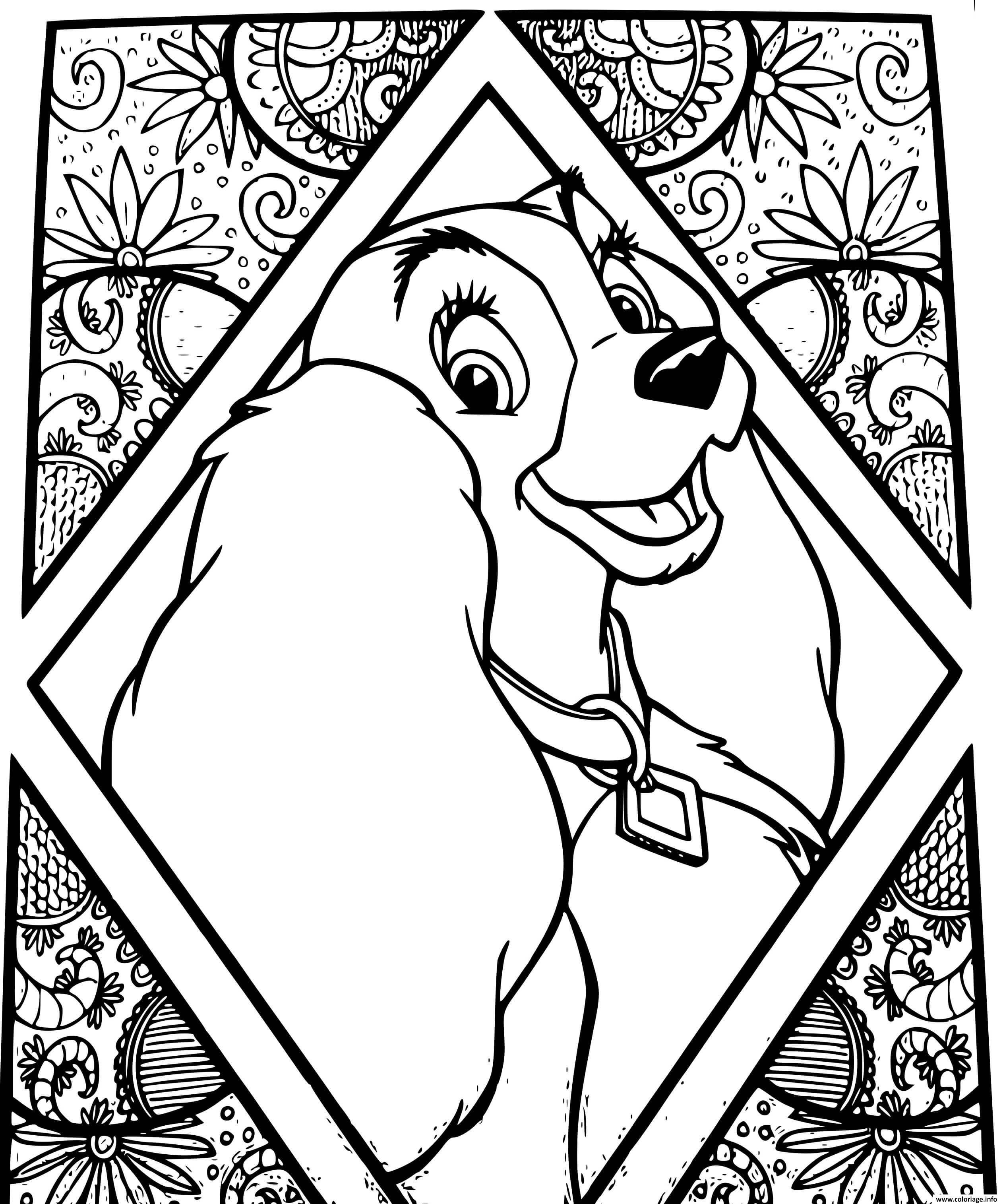 Dessin chien disney lady la belle et le clochard Coloriage Gratuit à Imprimer