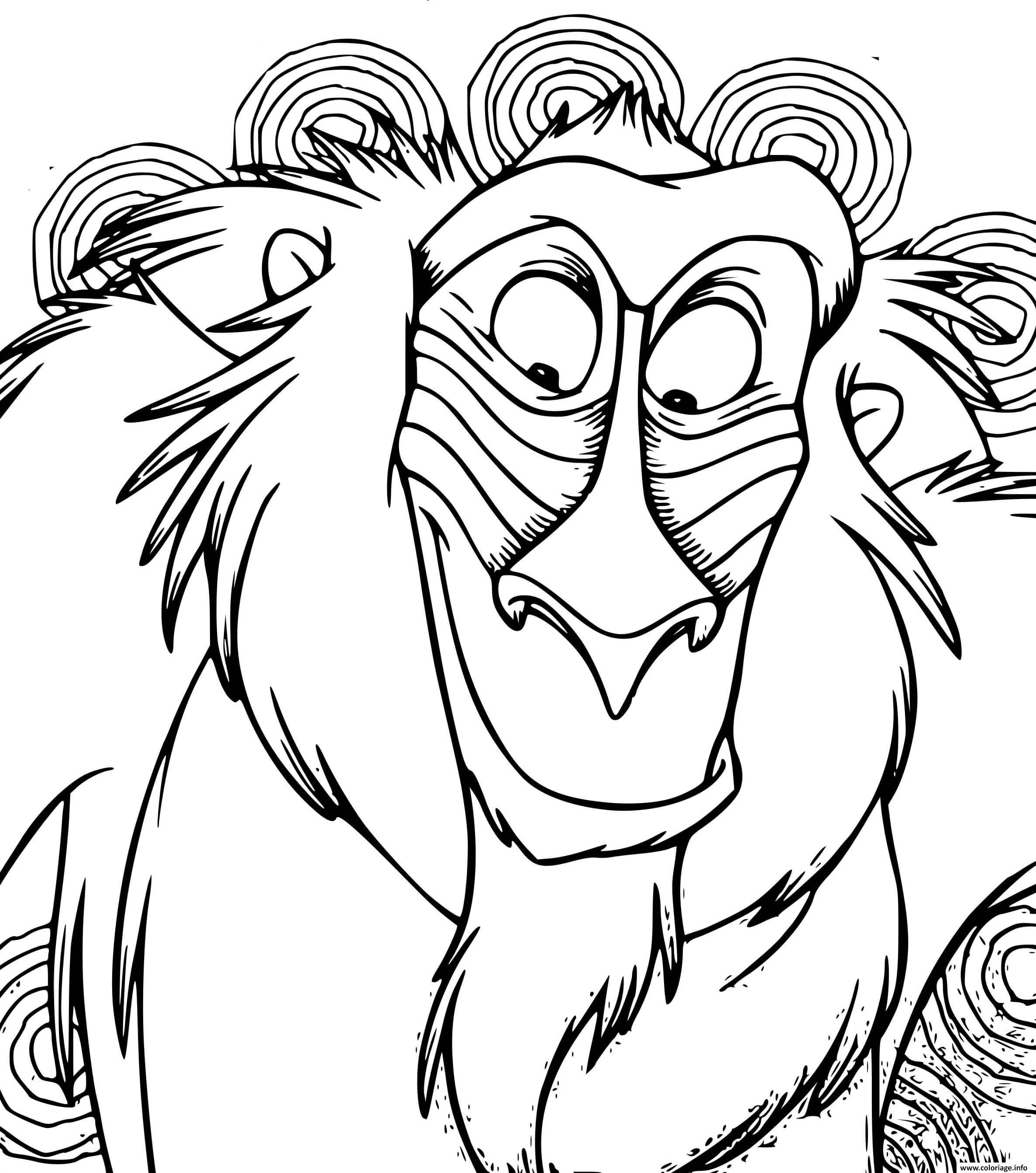Dessin rafiki roi lion bataille sur la terre des lions Coloriage Gratuit à Imprimer