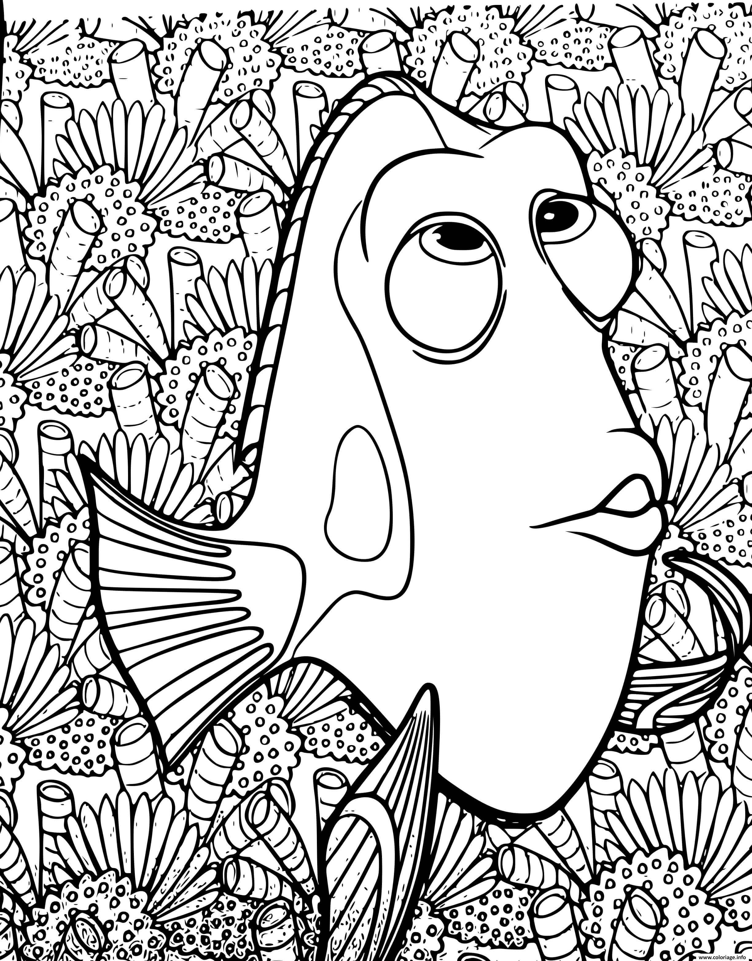 Dessin dory cherche Nemo Coloriage Gratuit à Imprimer
