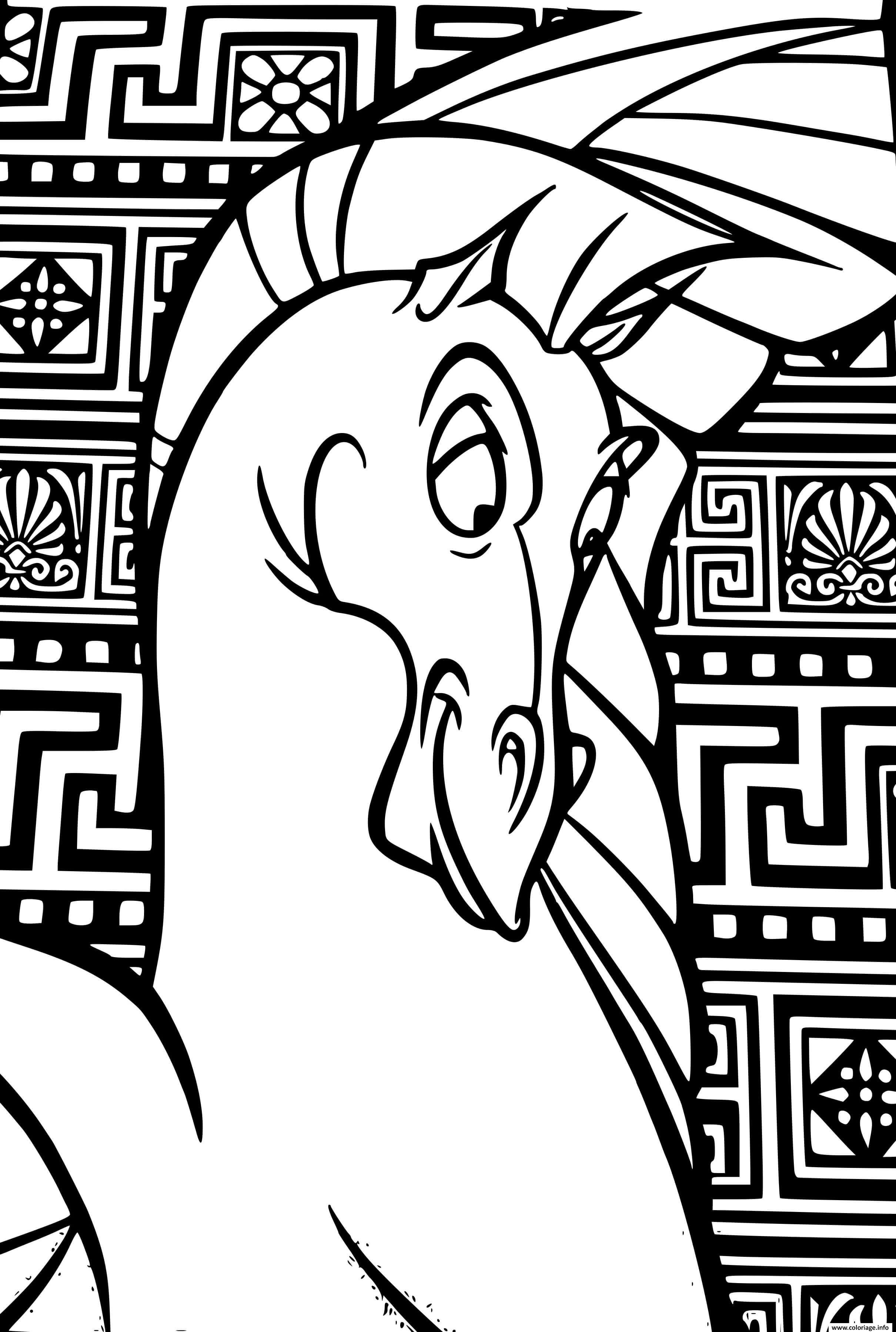 Dessin cheval pegase cree par Zeus pour hercule Coloriage Gratuit à Imprimer