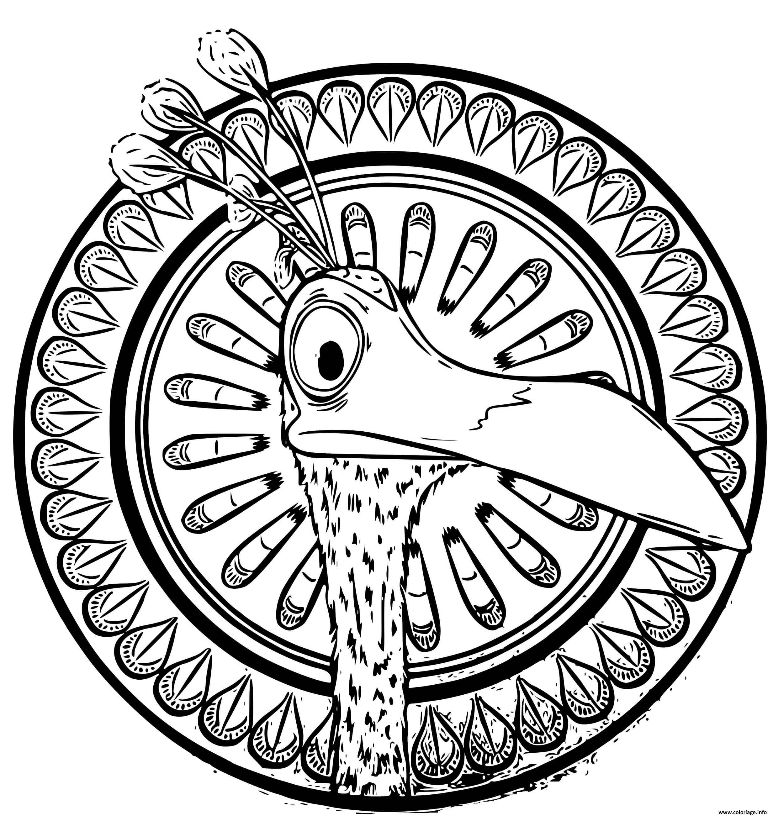 Dessin animal oiseau disney mandala Coloriage Gratuit à Imprimer