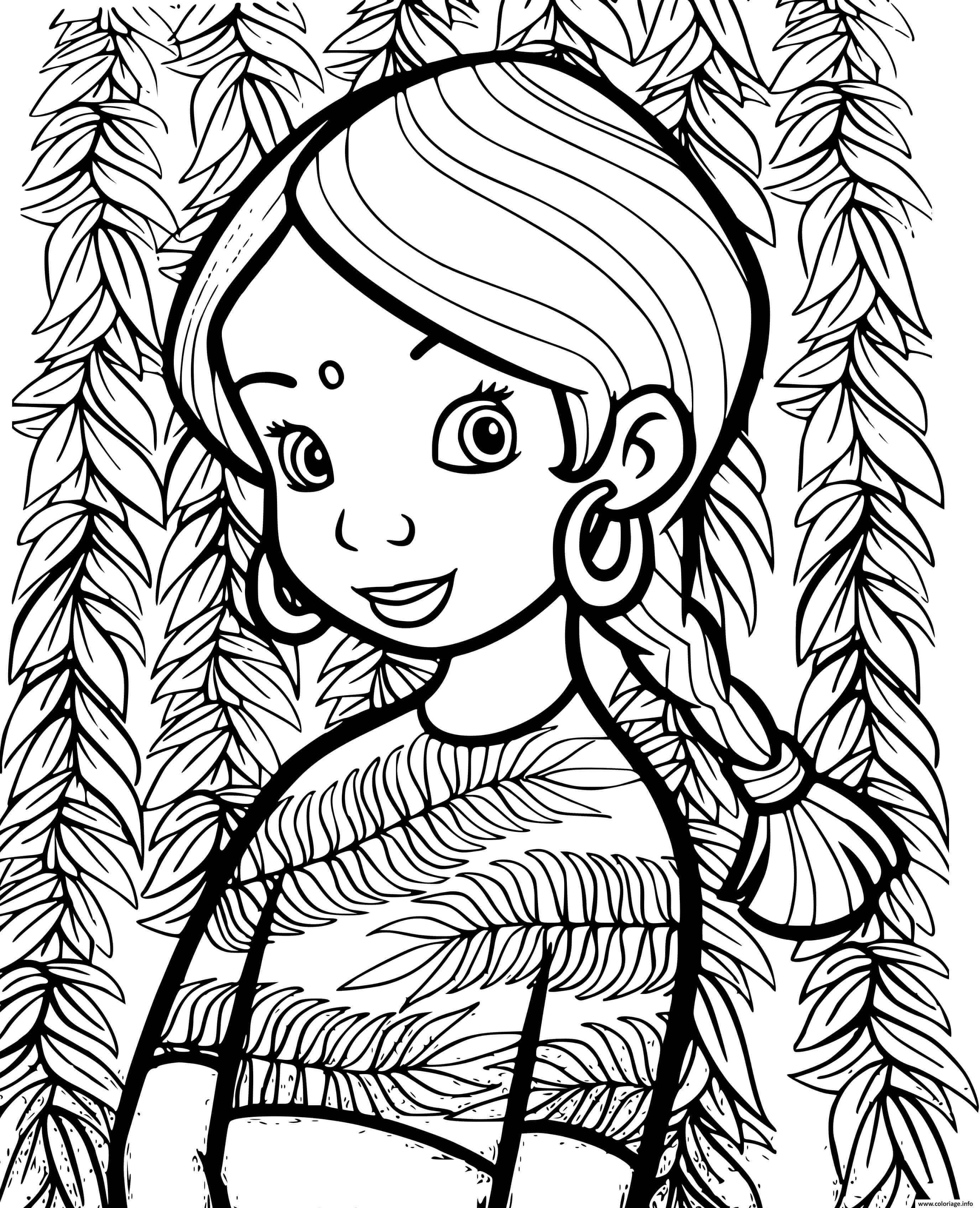 Dessin jolie fille indienne avec une belle robe Coloriage Gratuit à Imprimer