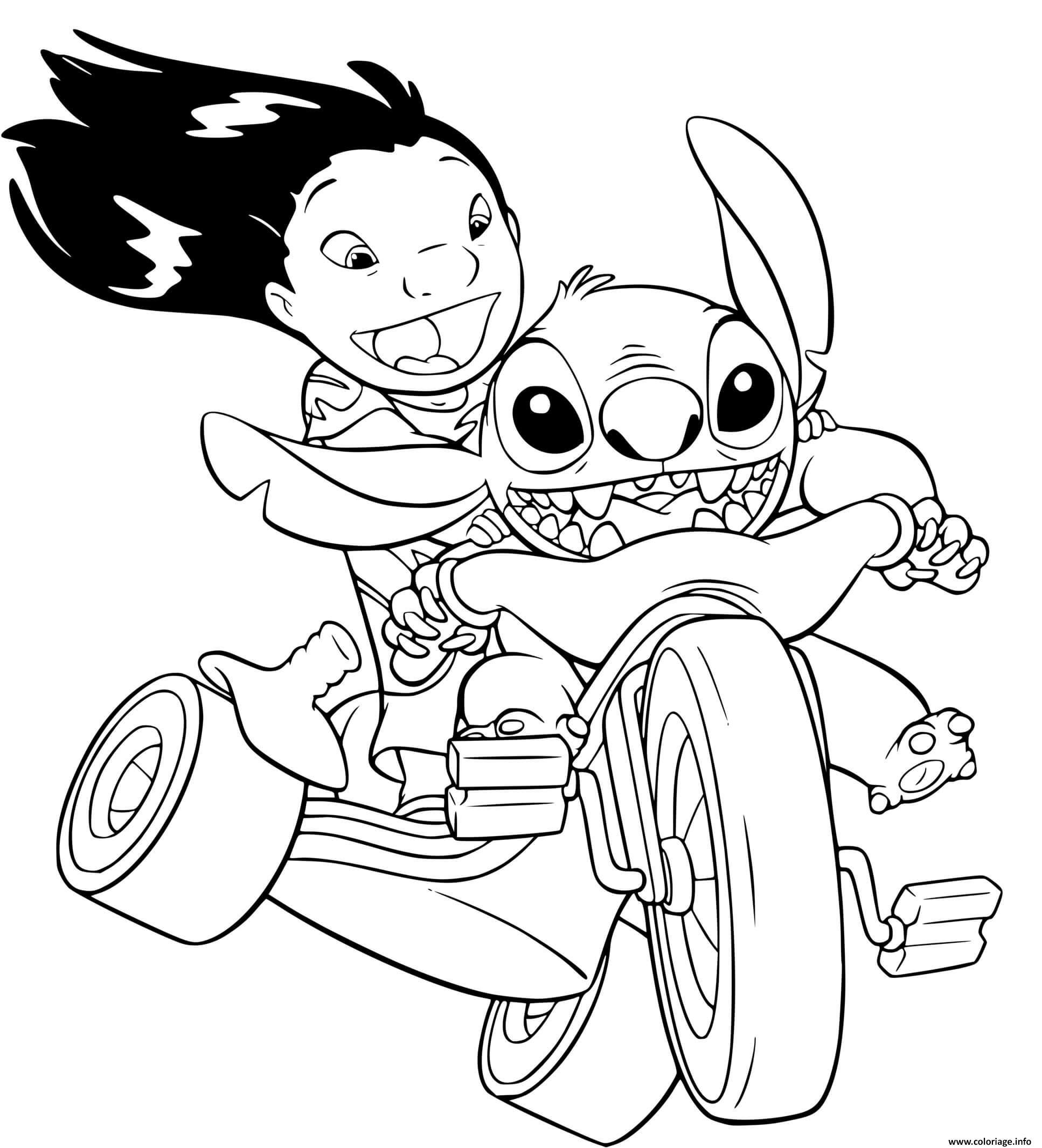 Dessin stitch et lilo adore la vitesse avec leur nouvel moto Coloriage Gratuit à Imprimer