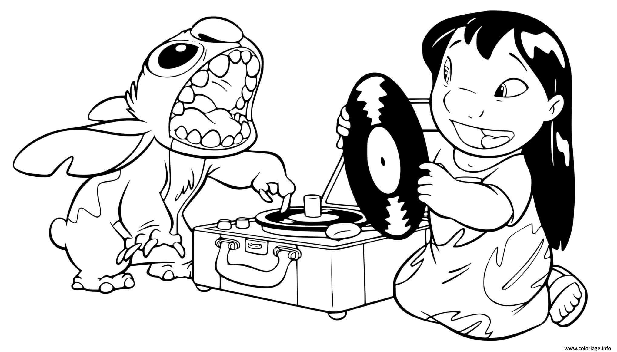 Coloriage stitch et lilo ecoute de la musique - JeColorie.com