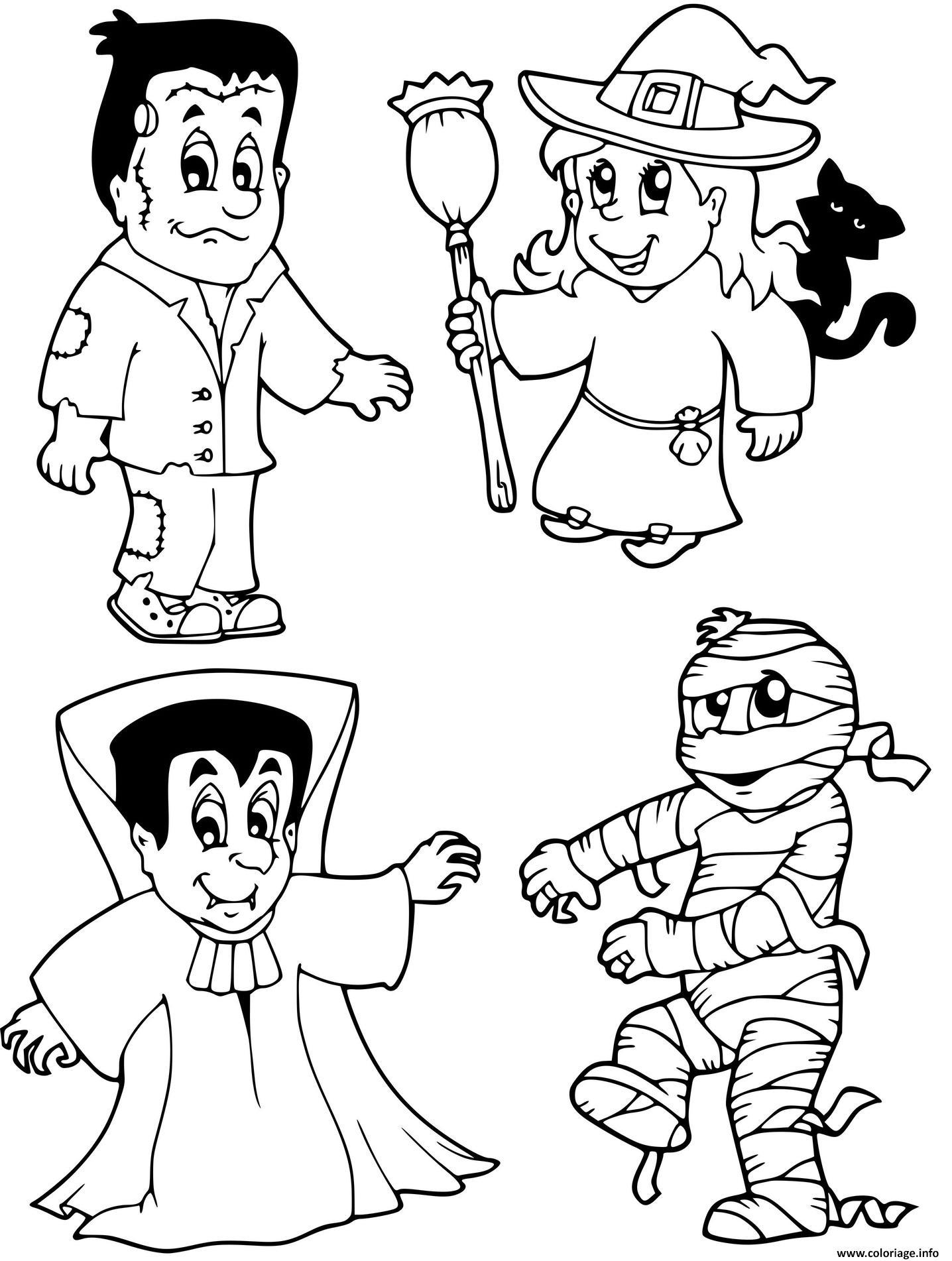 Dessin personnages halloween vampire sorciere momie Coloriage Gratuit à Imprimer