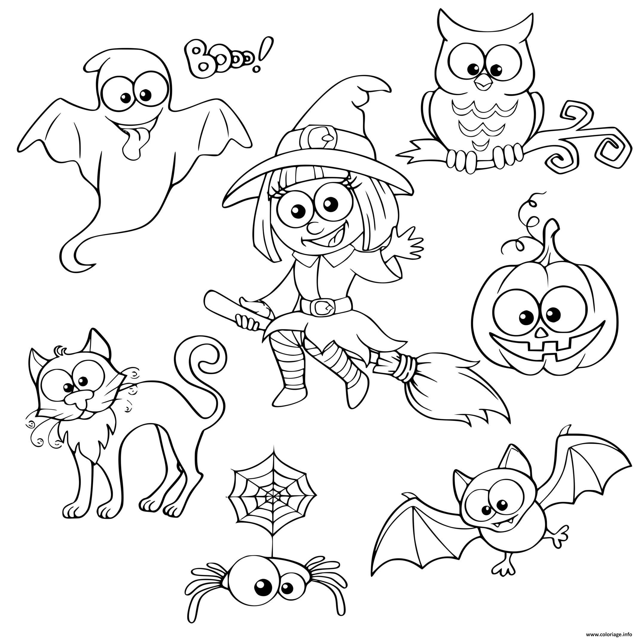 Dessin personnages halloween Coloriage Gratuit à Imprimer