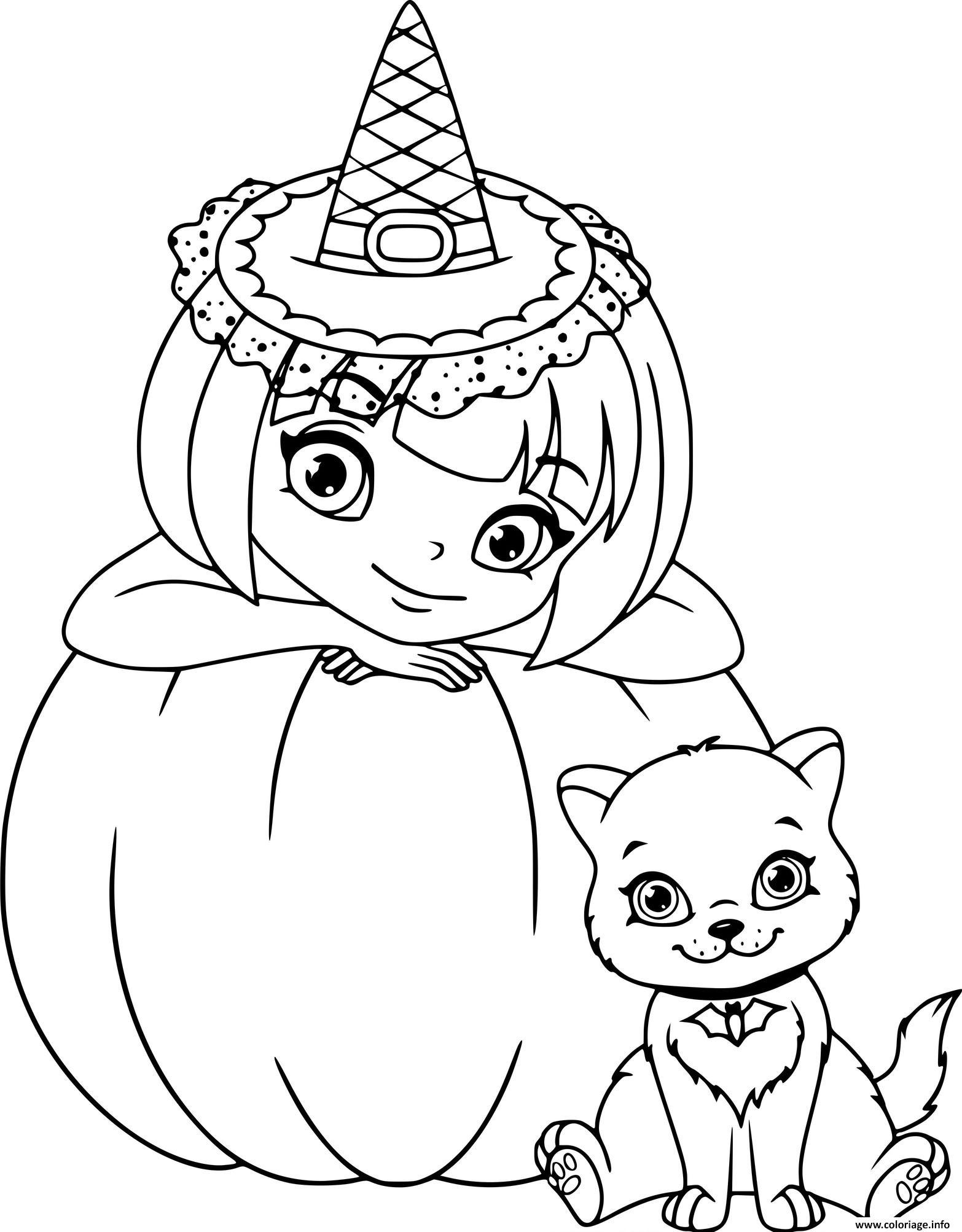 Dessin magnifique sorciere et son chat avec une citrouille Coloriage Gratuit à Imprimer