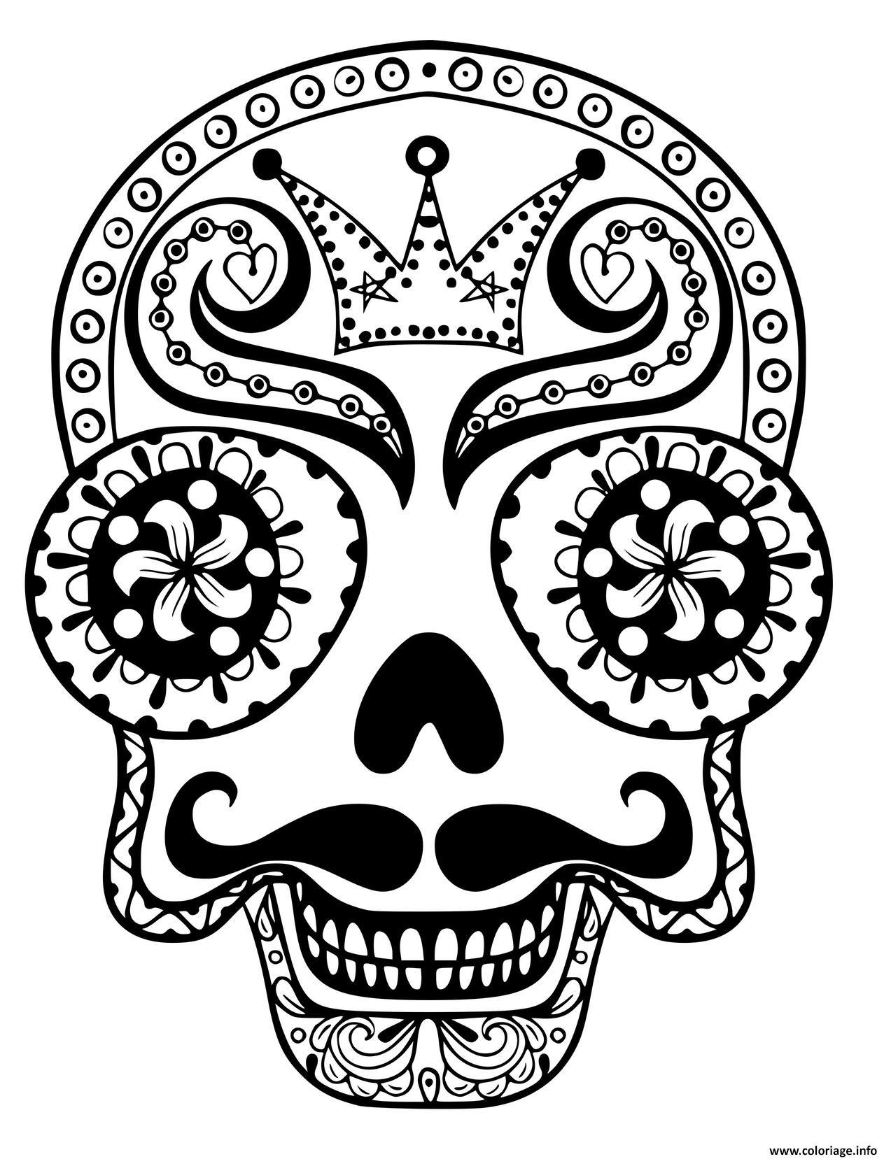 Dessin dead skull adulte Coloriage Gratuit à Imprimer