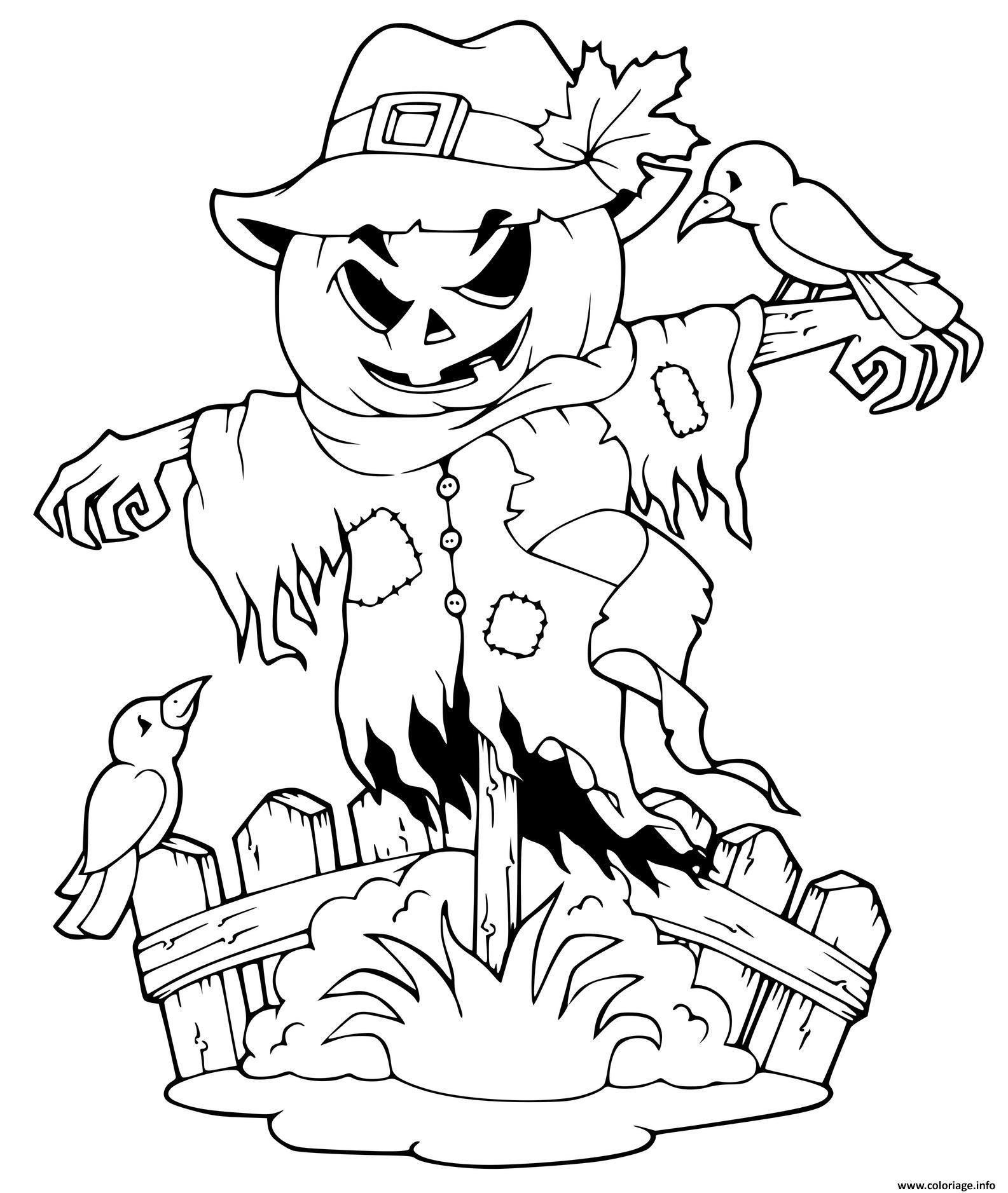 Dessin halloween scarecrow Coloriage Gratuit à Imprimer