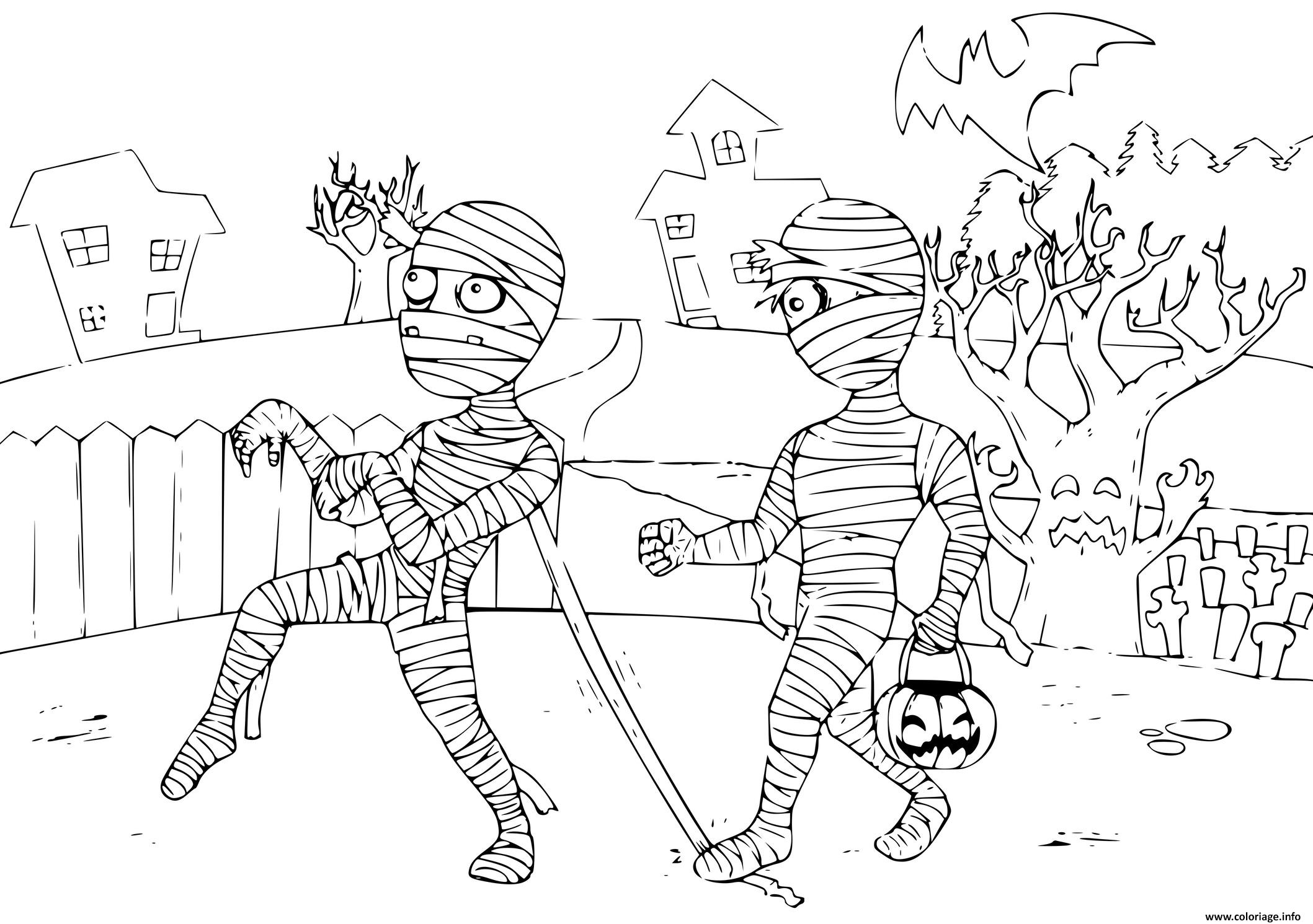 Dessin momie zombie halloween Coloriage Gratuit à Imprimer