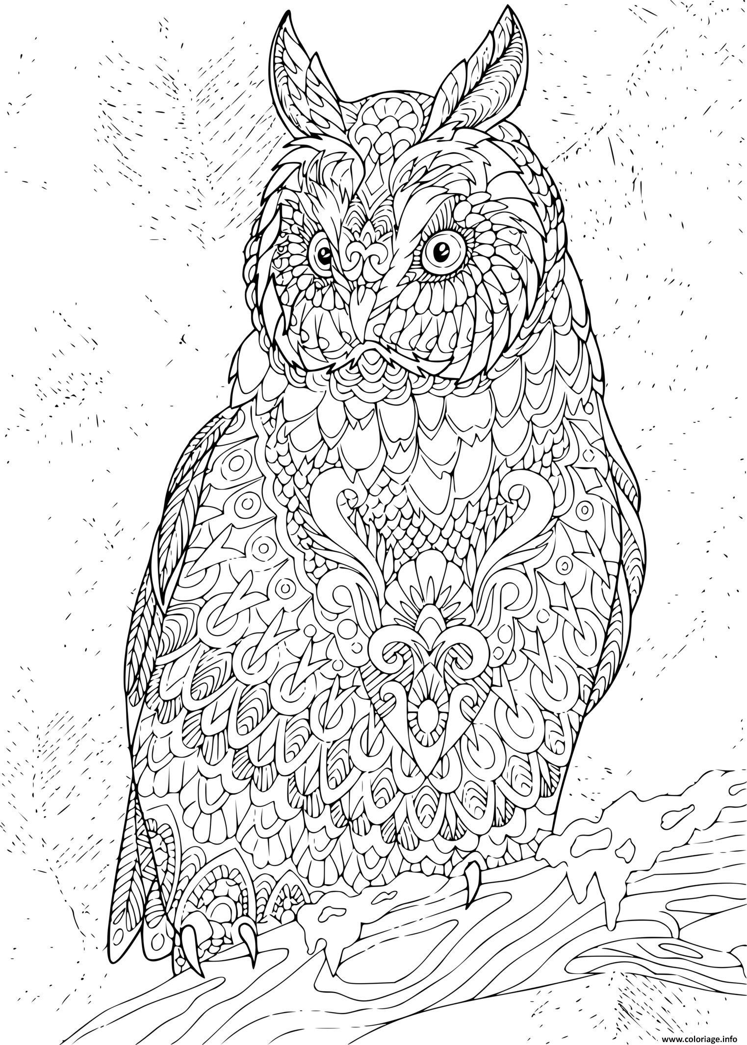 Dessin zentangle eagle owl Coloriage Gratuit à Imprimer