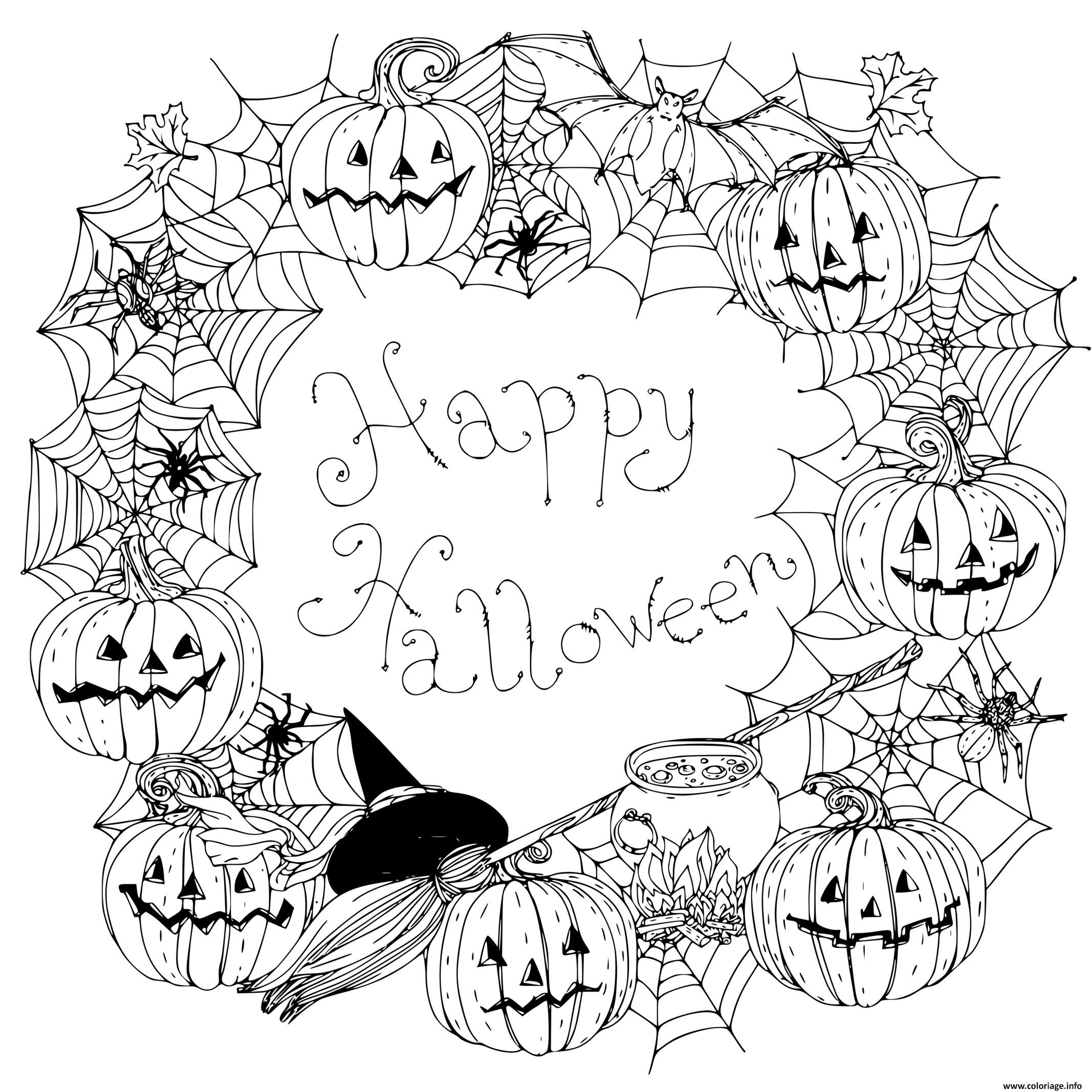 Dessin joyeuse halloween mandala Coloriage Gratuit à Imprimer