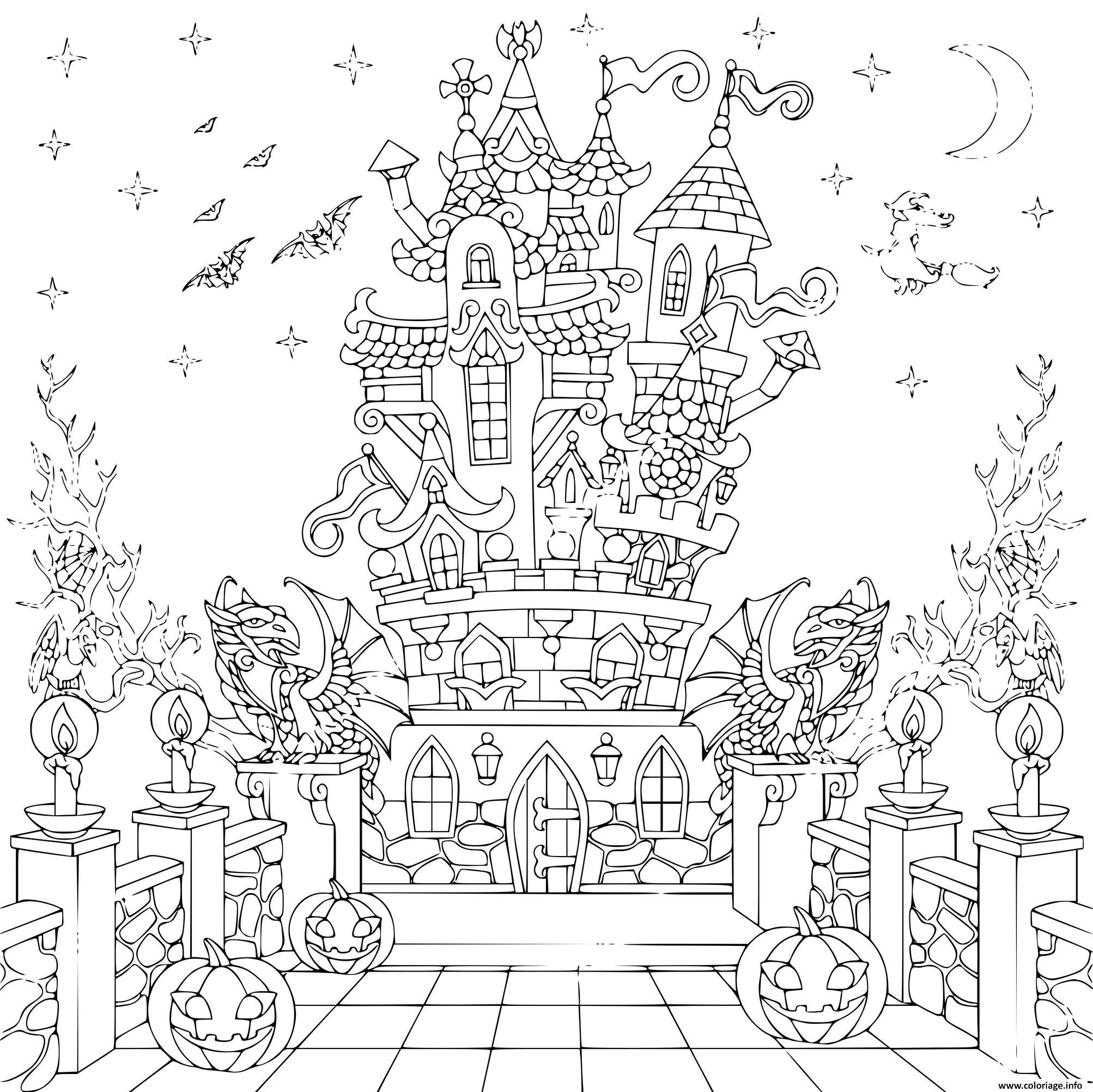 Dessin maison hantee chateau hallowen adulte Coloriage Gratuit à Imprimer