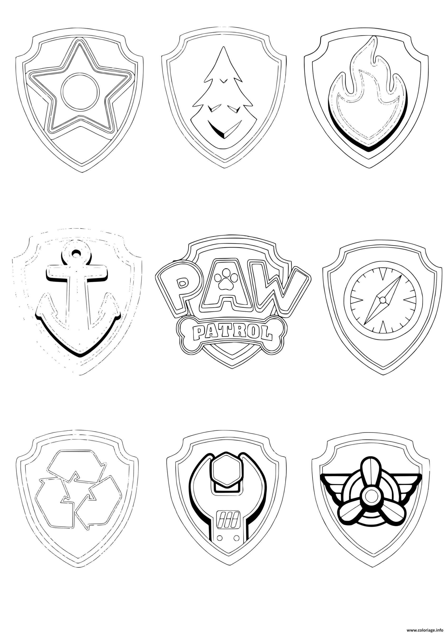 Coloriage Pat Patrouille Pups Tags Badges Dessin Pat ...