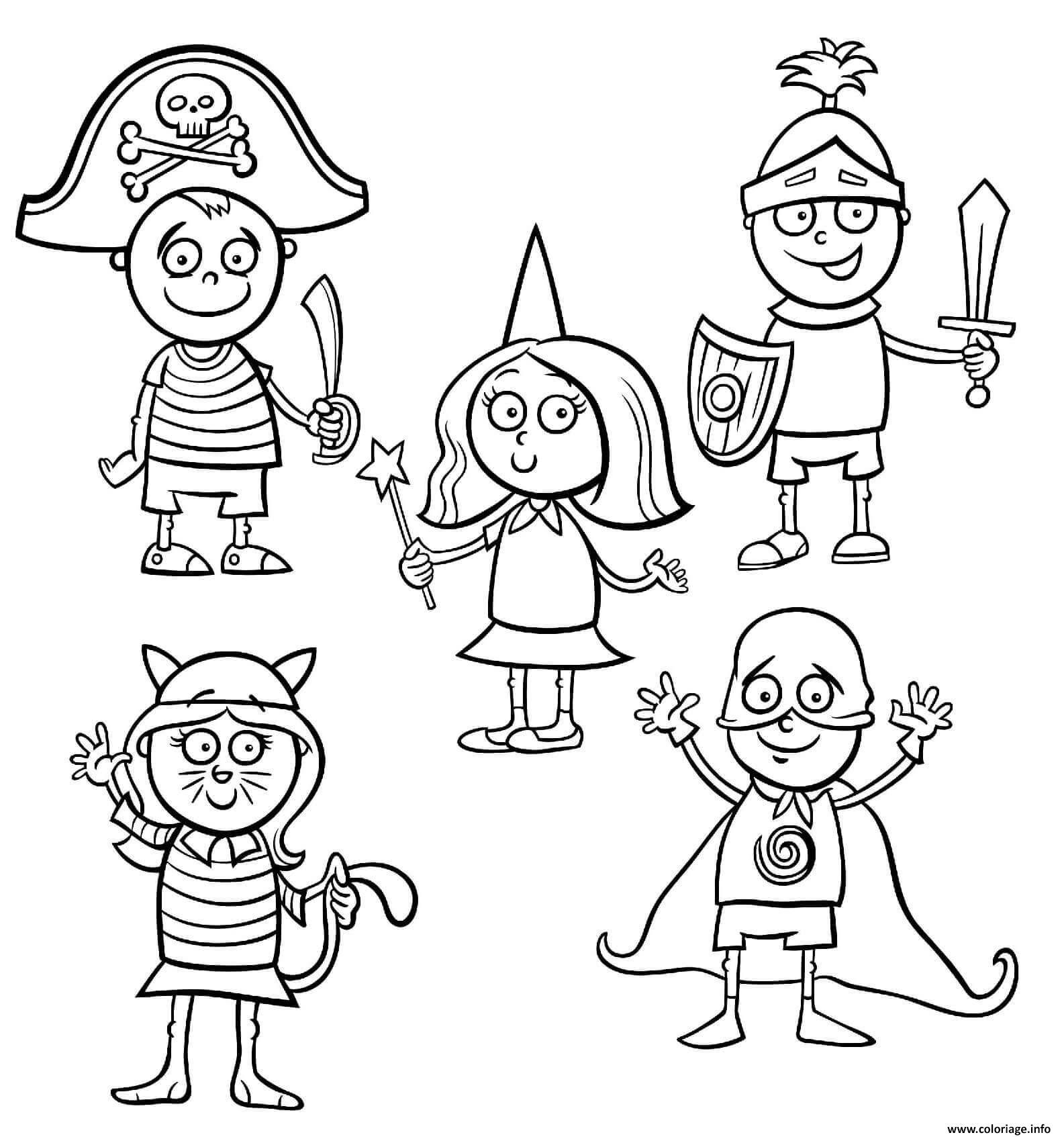 Coloriage Deguisements Et Costumes De Halloween Pour Enfants Jecolorie Com