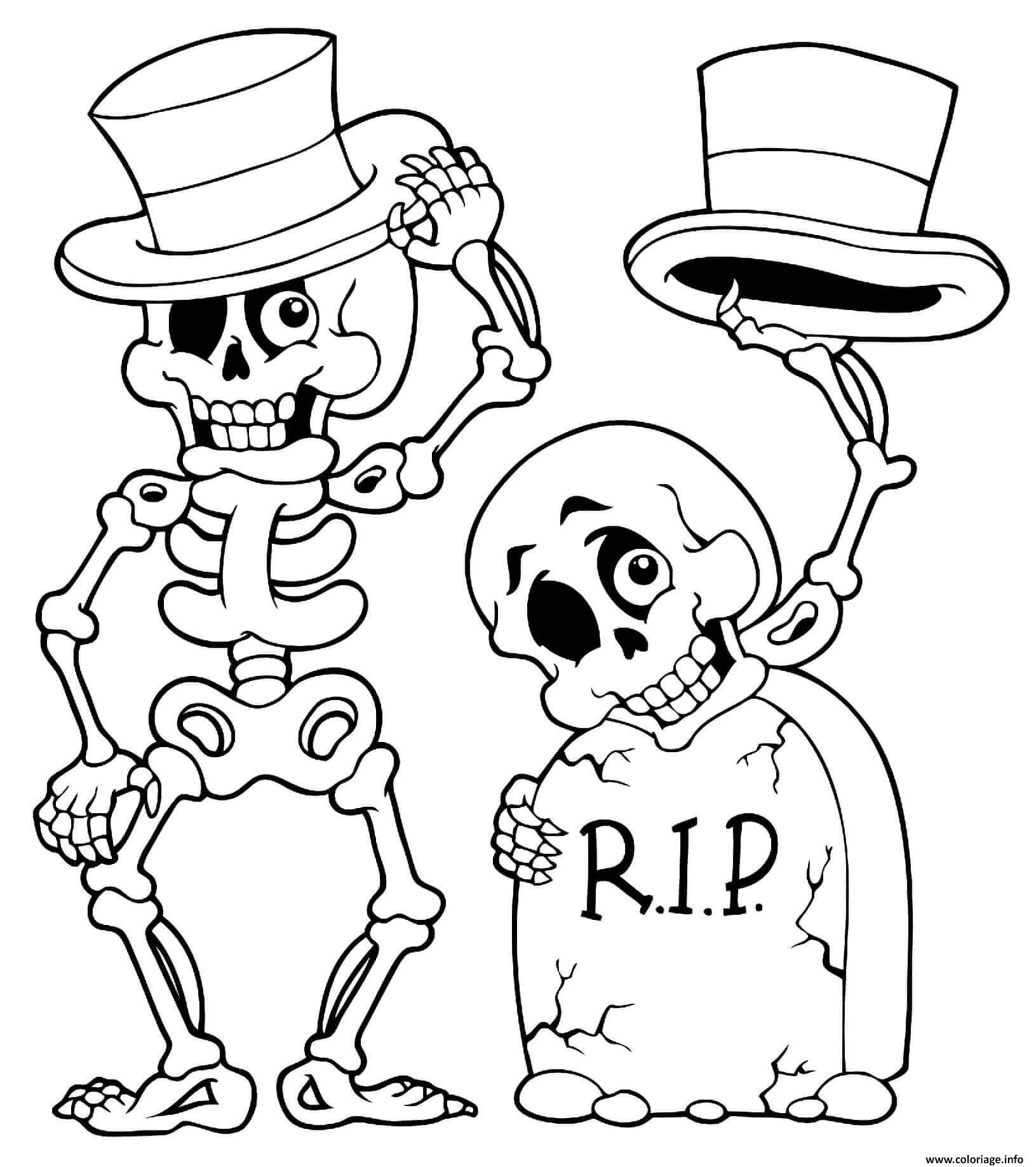 Dessin halloween squelette et tete de mort Coloriage Gratuit à Imprimer