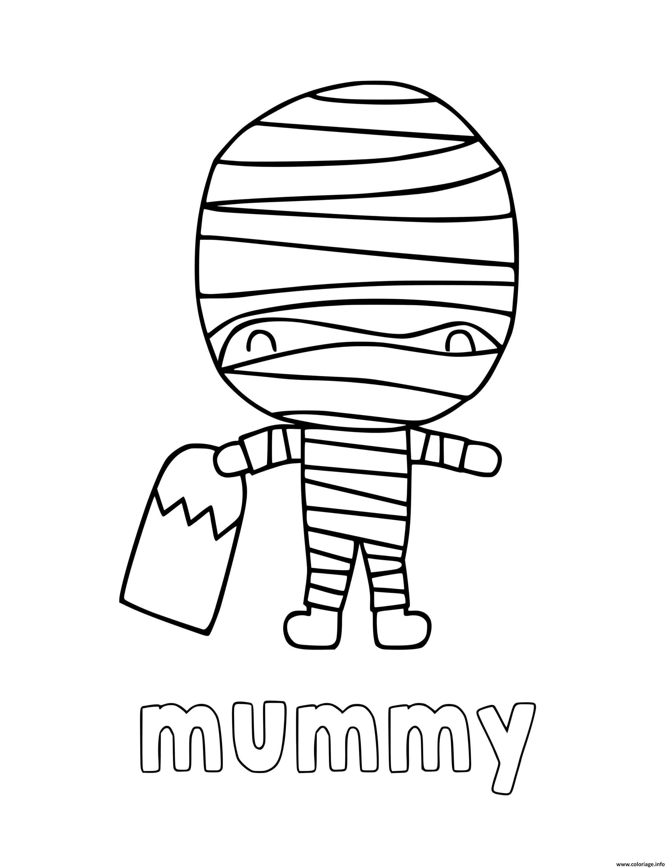 Coloriage Momie De Halloween Pour Enfants Dessin Halloween A Imprimer