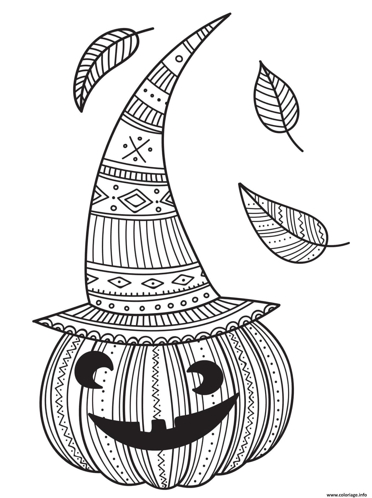 Dessin citrouille avec chapeau de sorciere et feuilles d automne Coloriage Gratuit à Imprimer