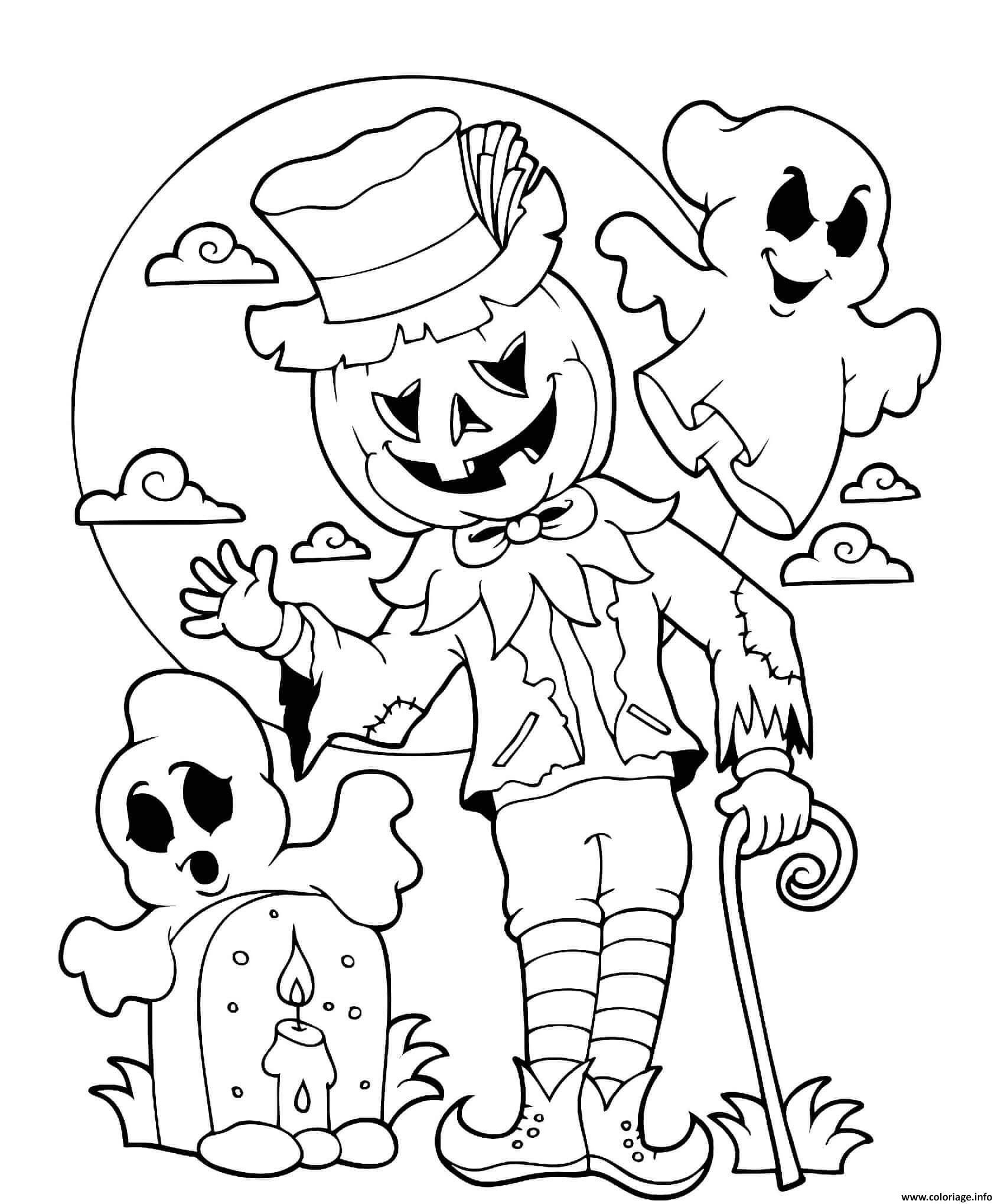 Dessin halloween epouvantail citrouille lune et cimetiere Coloriage Gratuit à Imprimer