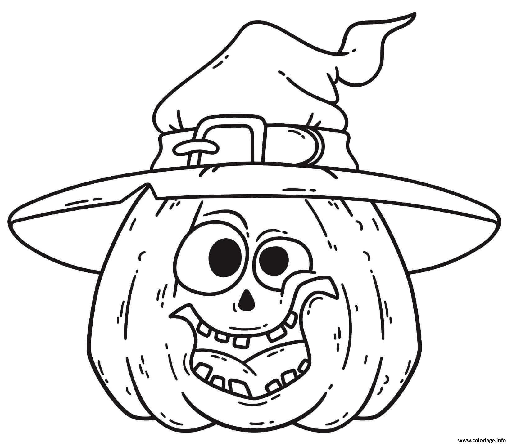 Dessin chapeau et citrouille amusante pour Halloween Coloriage Gratuit à Imprimer