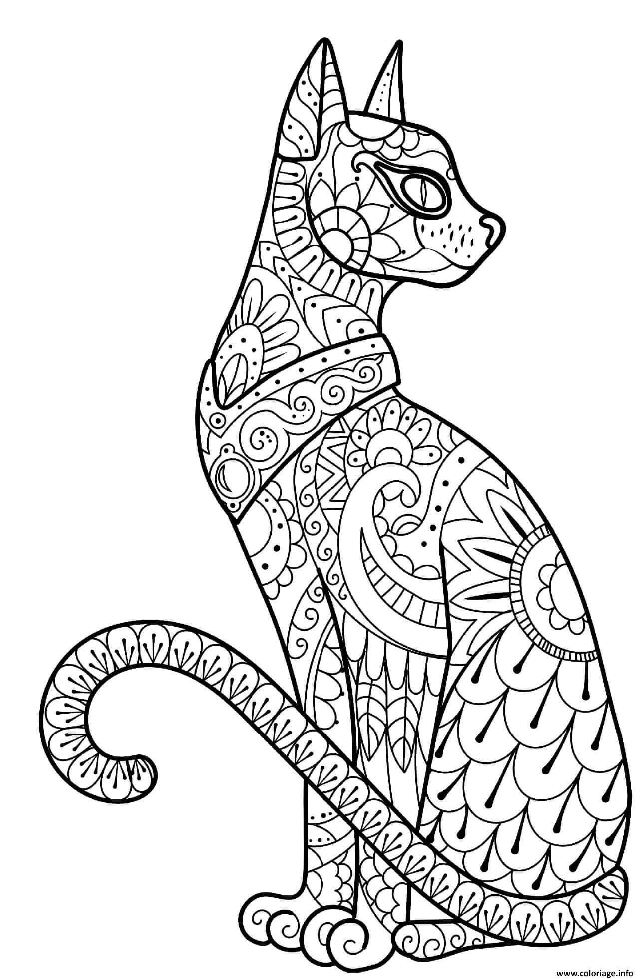 Dessin halloween intricate cat zentangle adulte Coloriage Gratuit à Imprimer